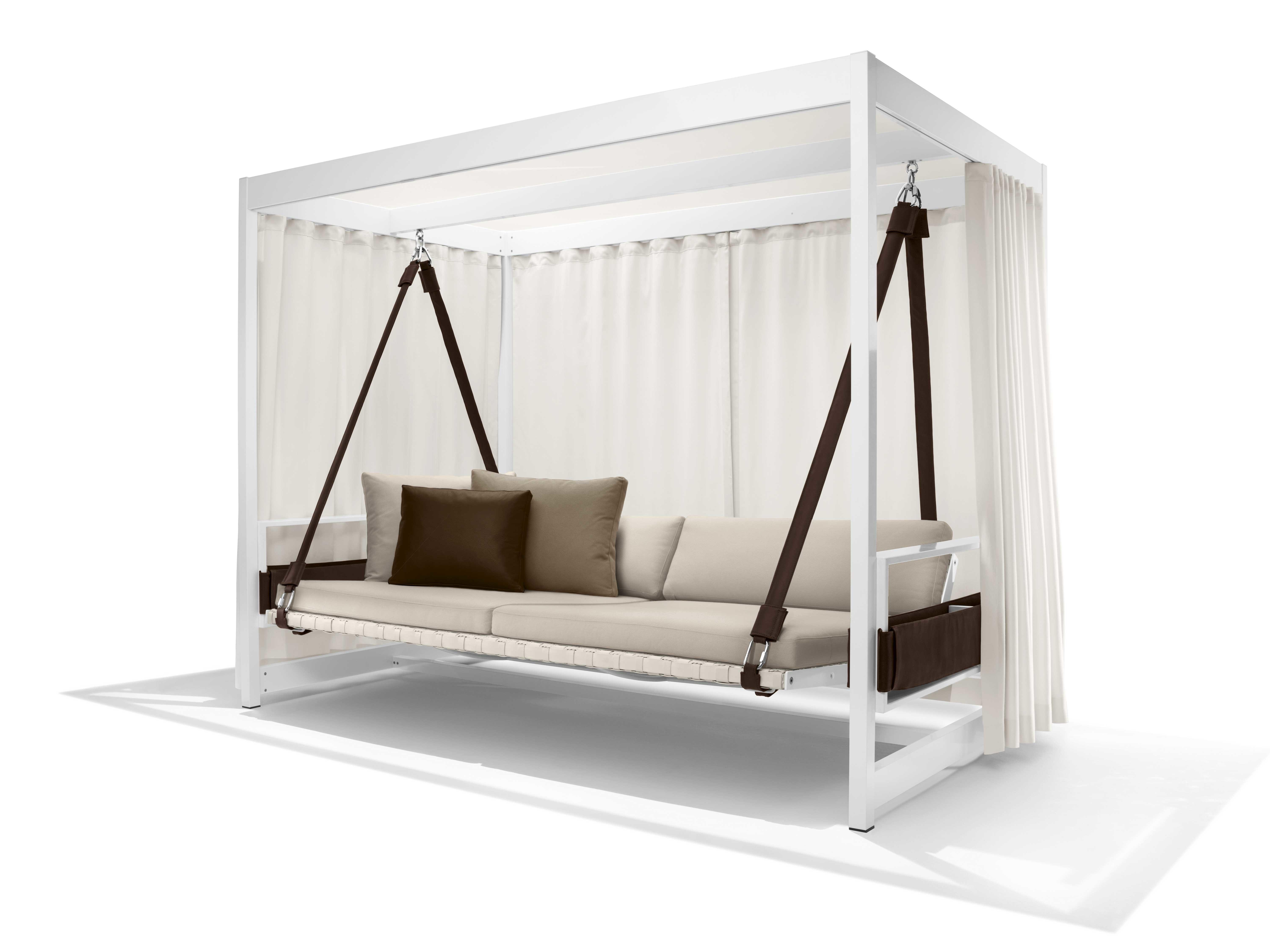 Modern White Stained Wooden Canopy Swing Day Bed