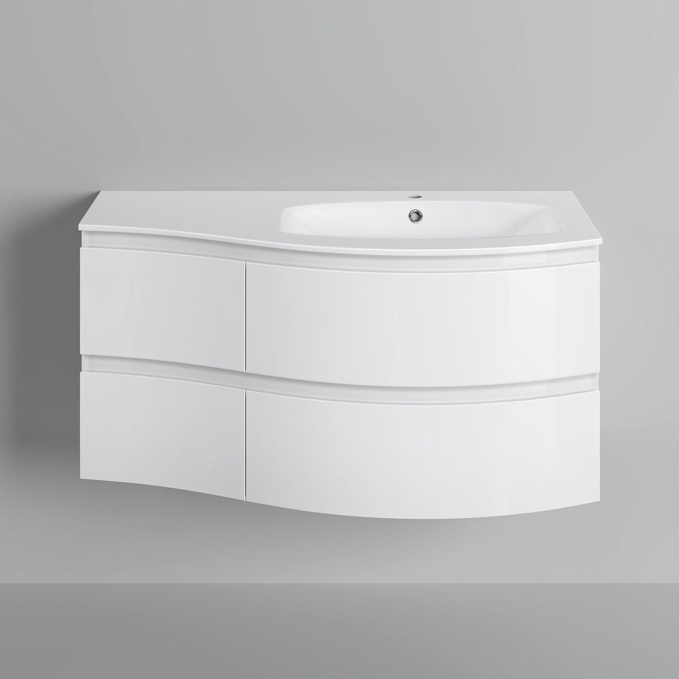 Modern White Vanity Unit Curved Bathroom Furniture Sink