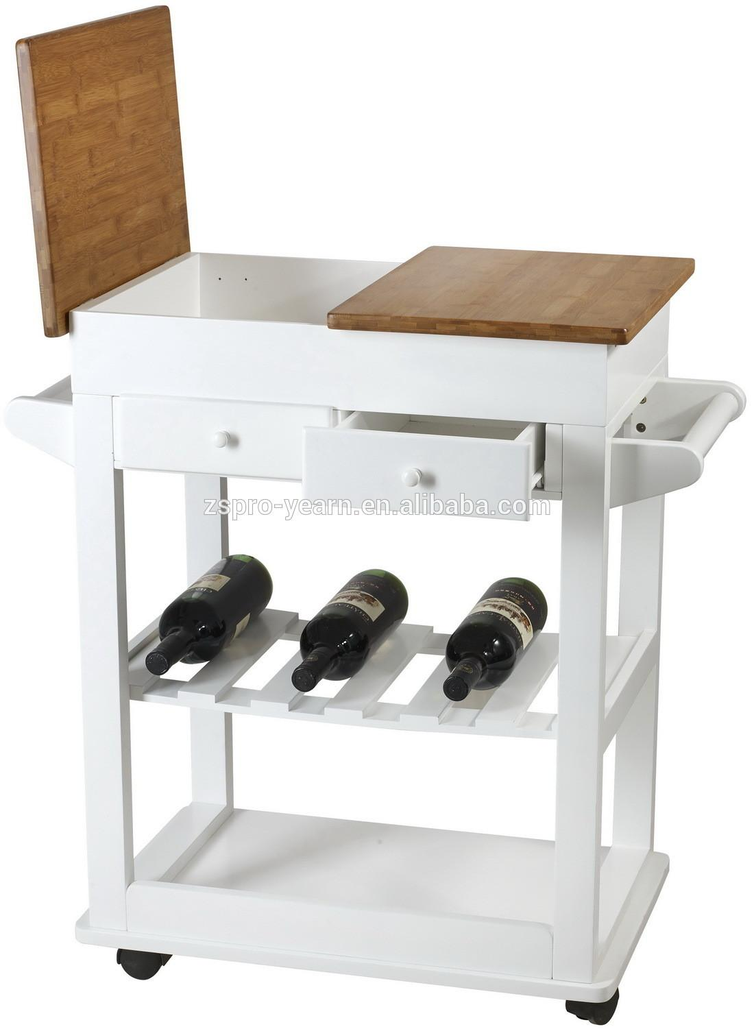 Modern Wooden Bamboo Kitchen Serving Trolley Table