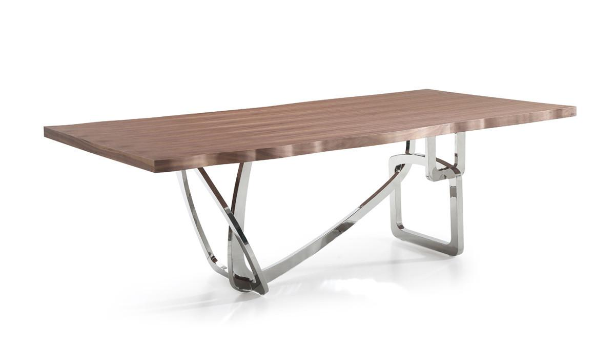 Modrest Addy Modern Walnut Stainless Steel Dining Table