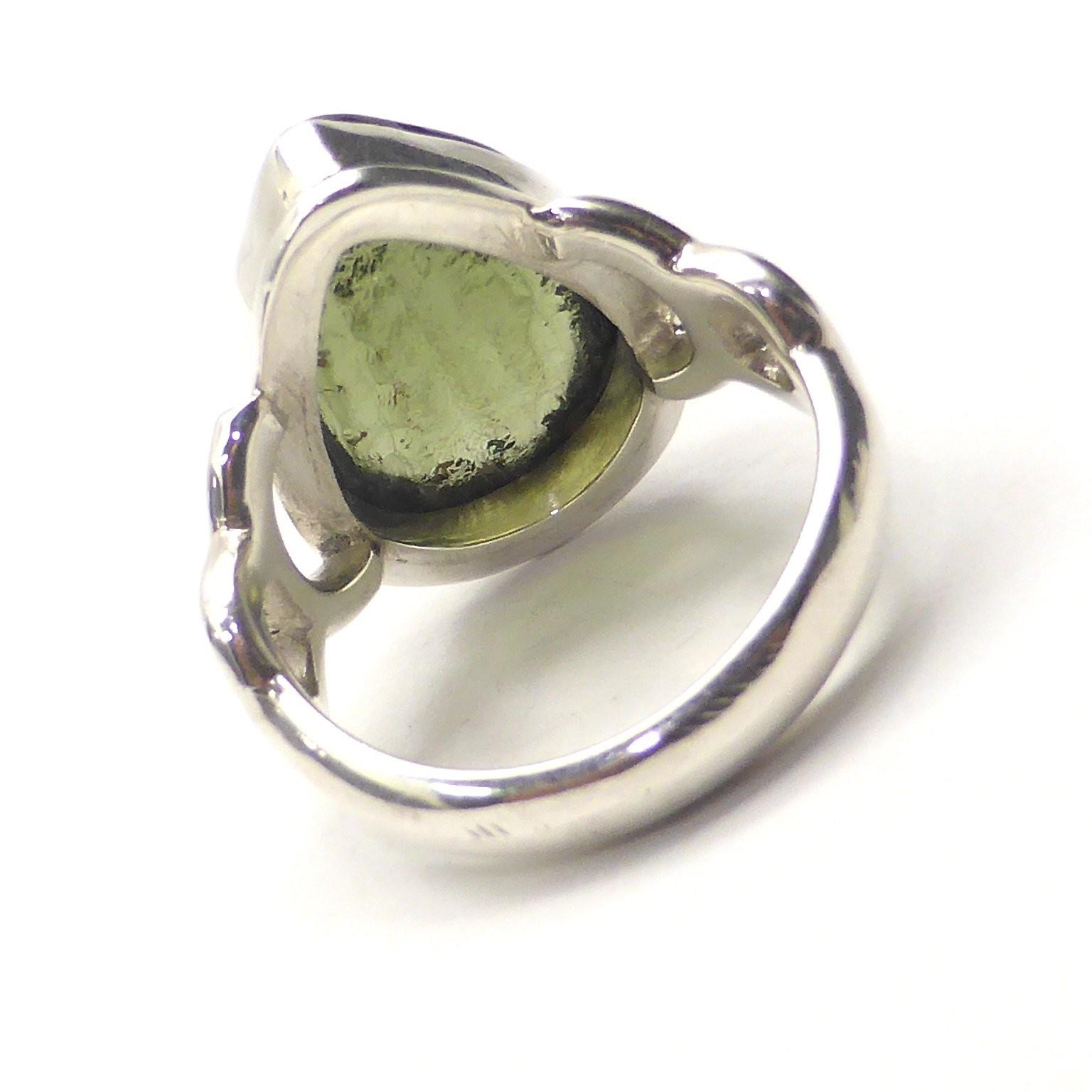 Moldavite Ring Raw Polished 925 Sterling Silver