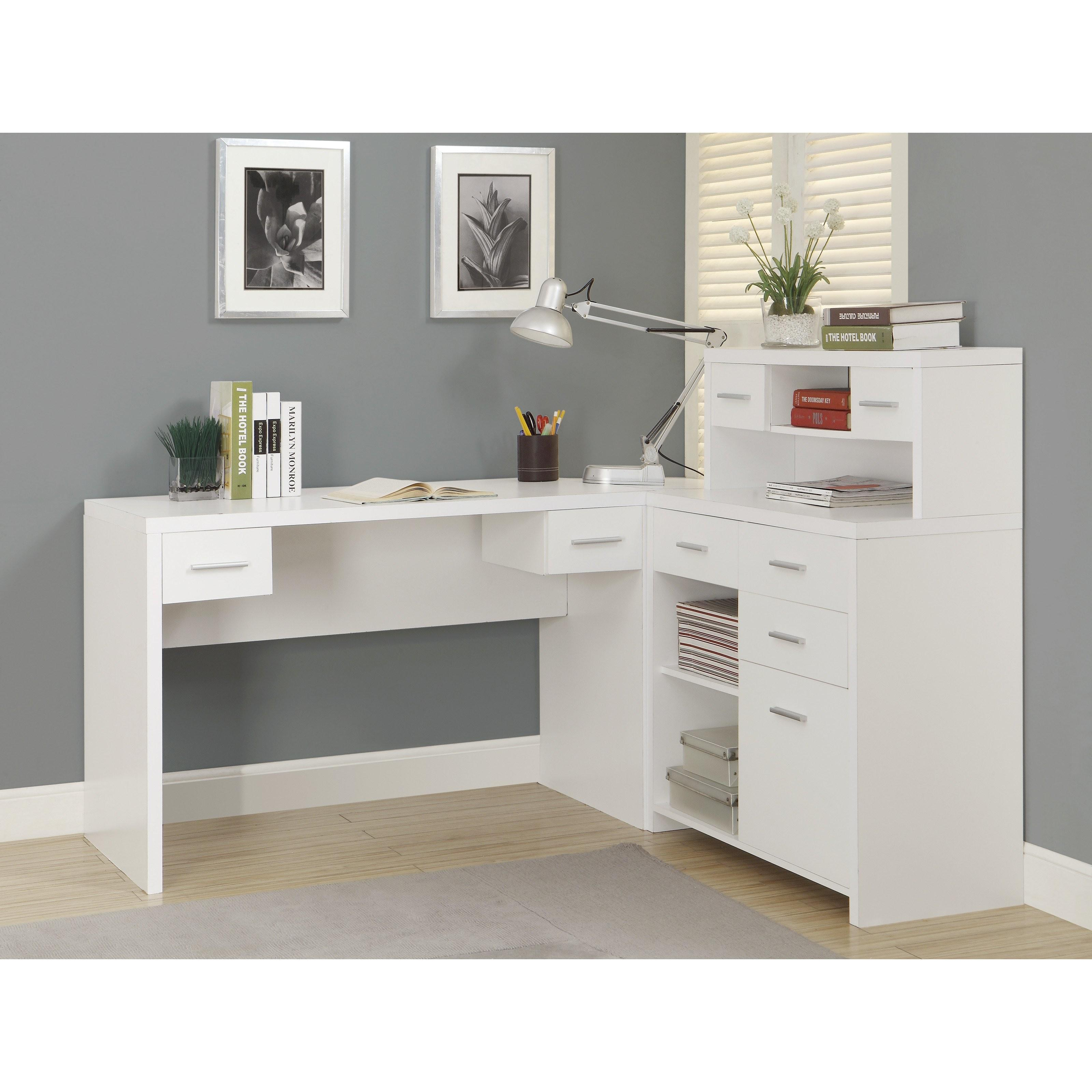 Monarch Hollow Core Shaped Home Office Desk White