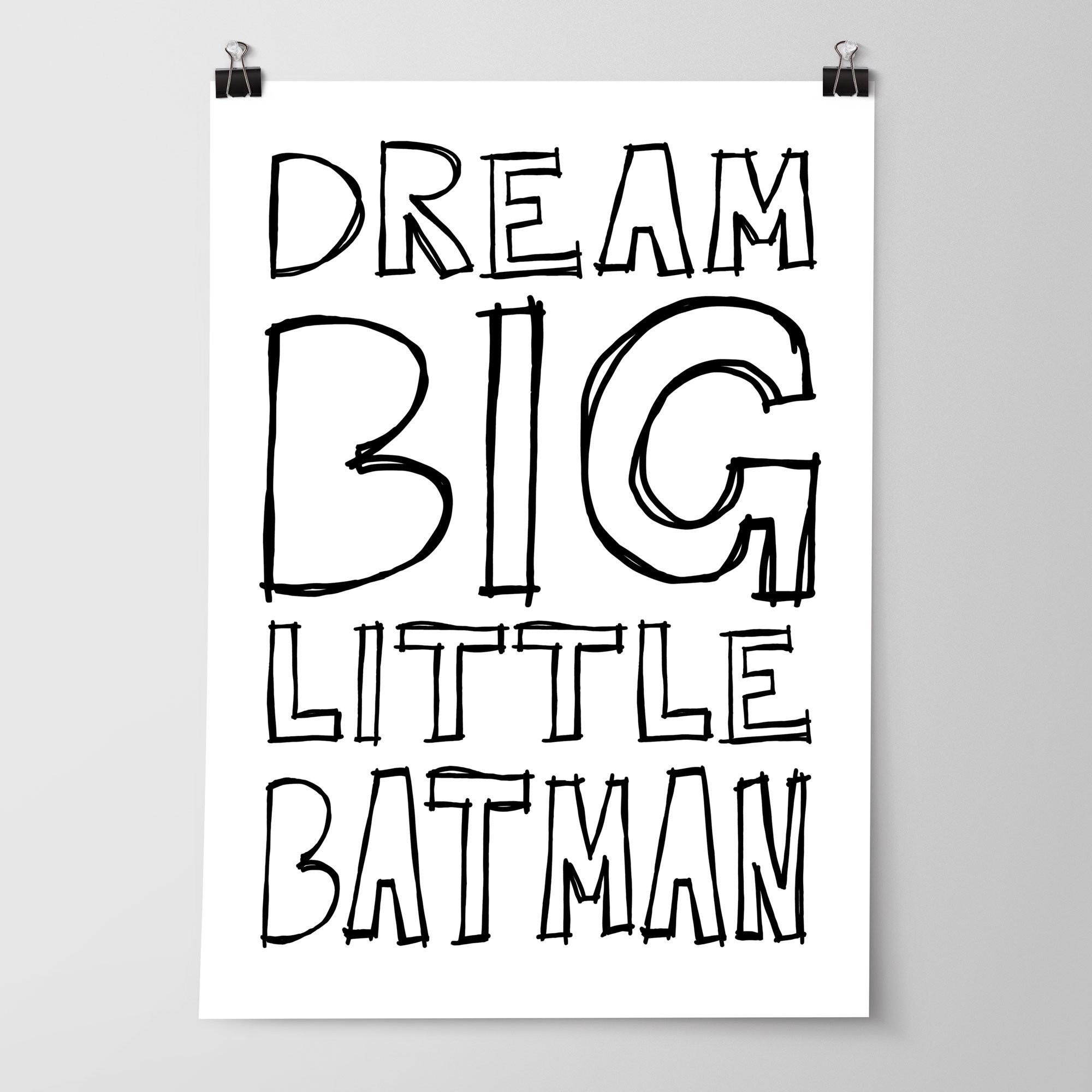 Monochrome Batman Nursery Print Boys Superhero Bedroom