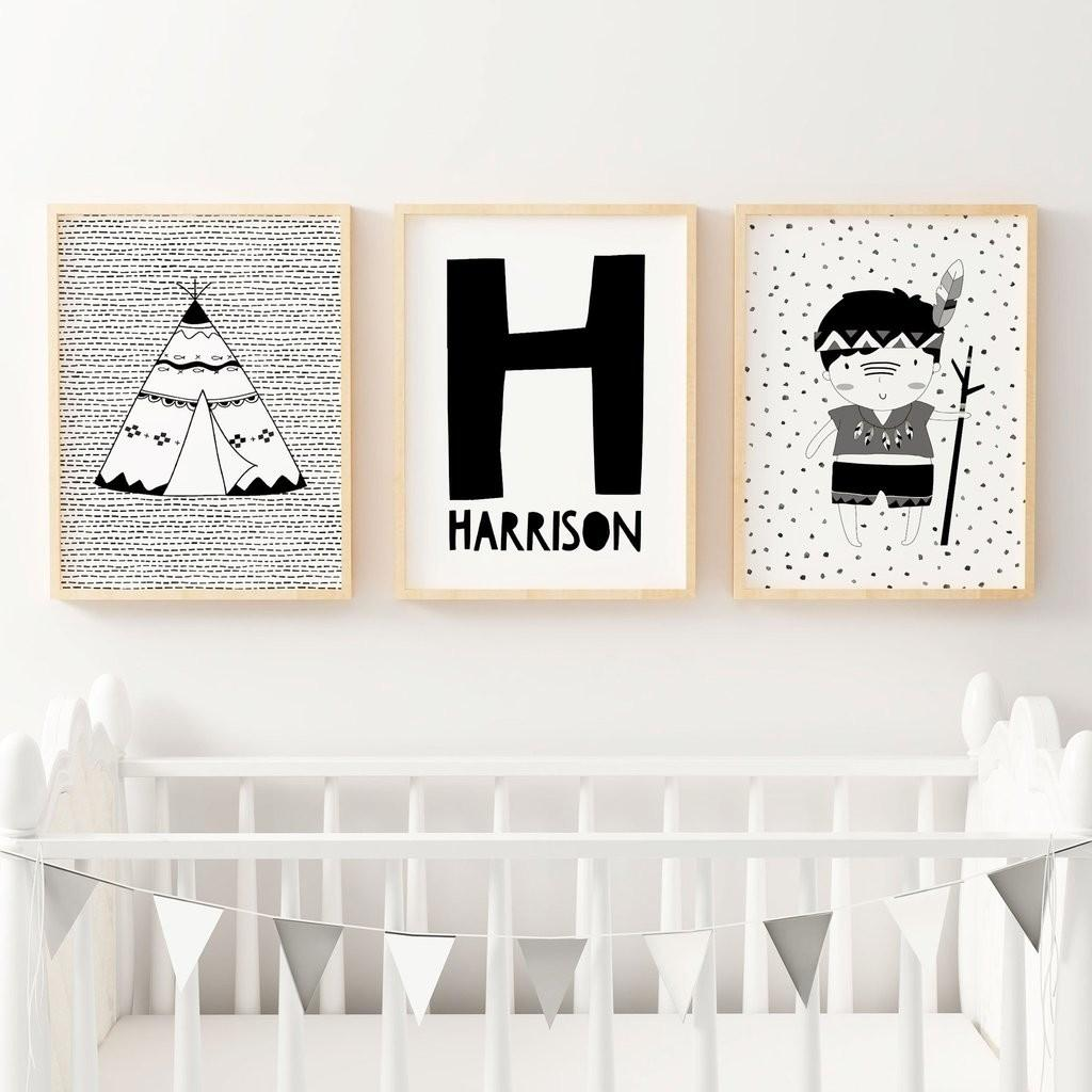 Monochrome Nursery Prints Black White Wall Art Decor
