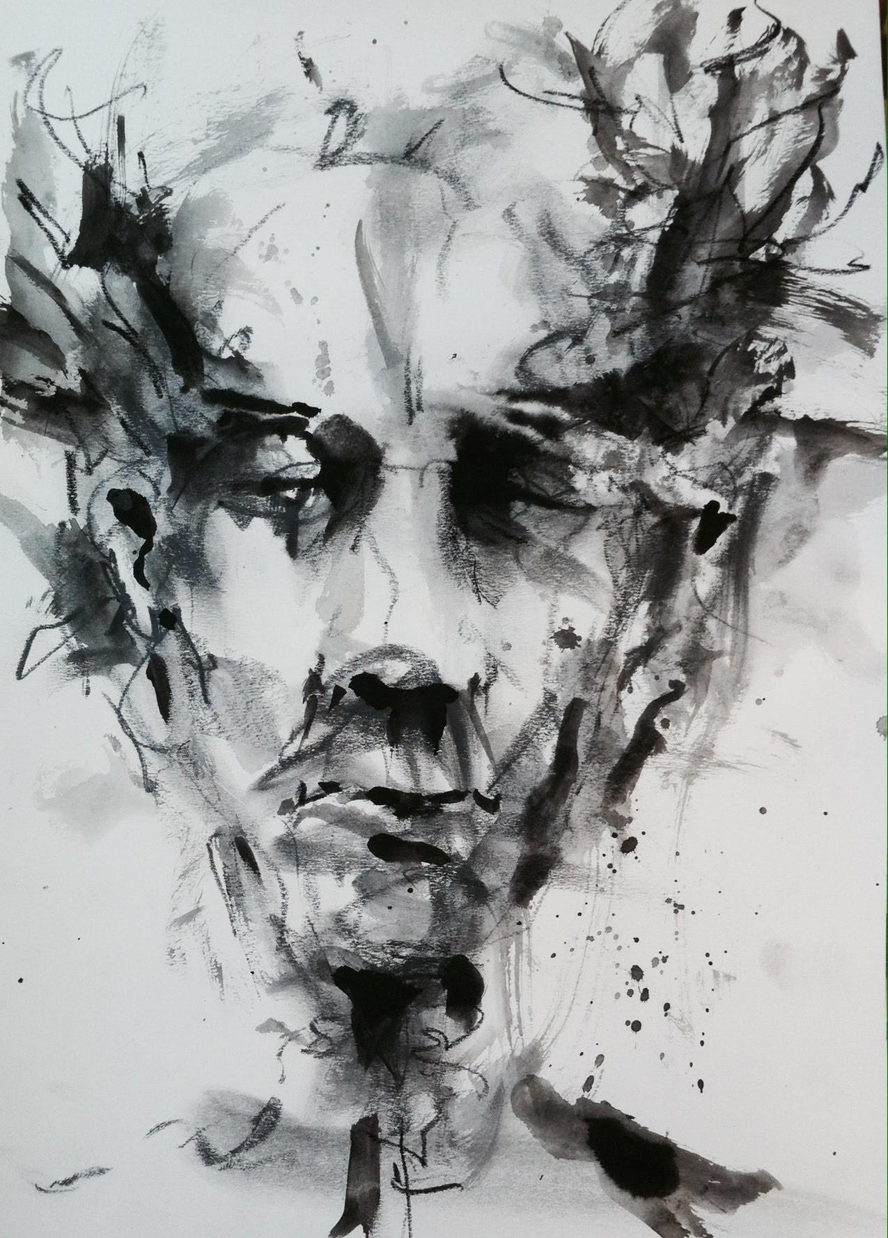 Monochrome Speed Painting Draw Imaginative Face
