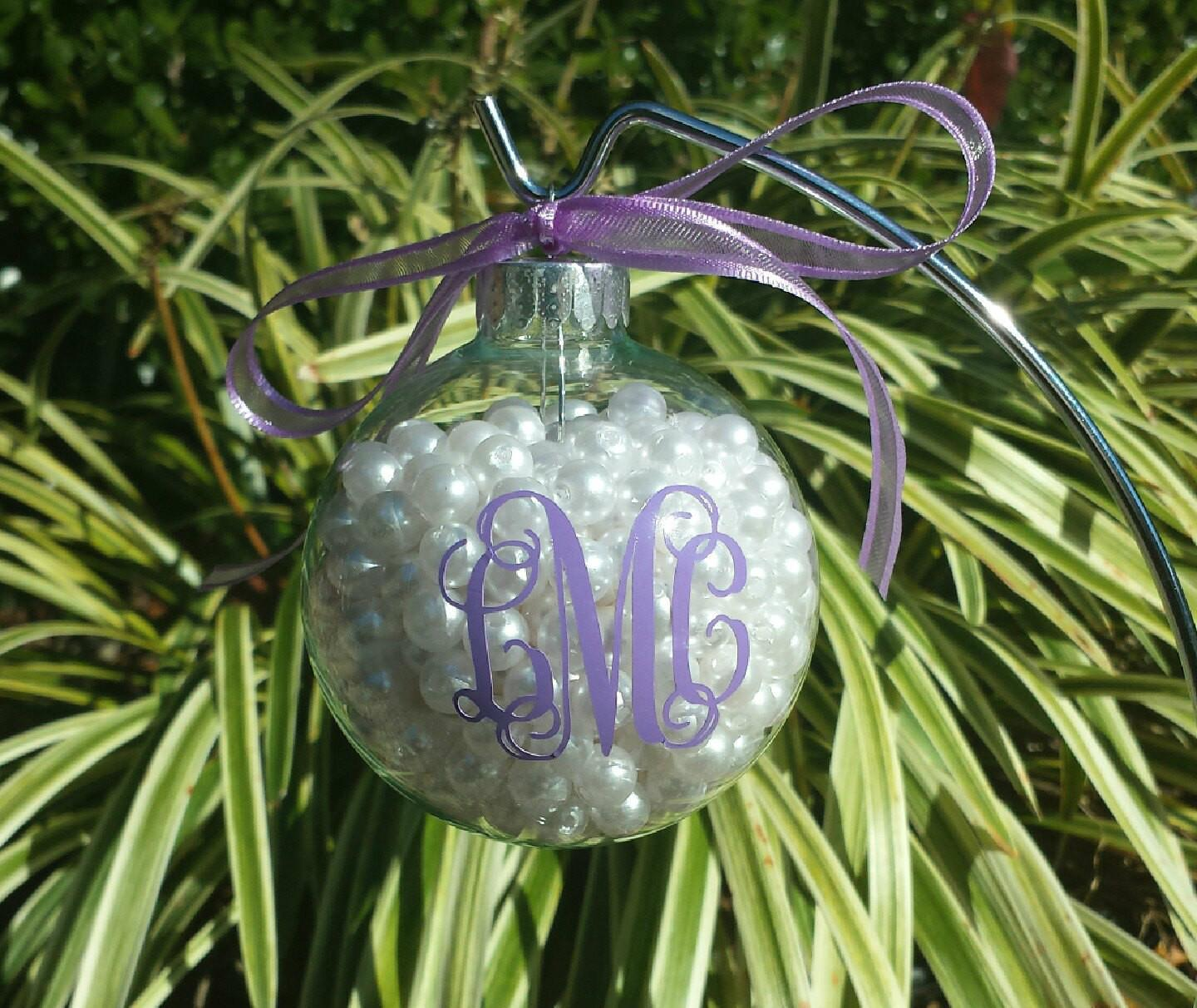 Monogrammed Glass Ornament Filled Pearls