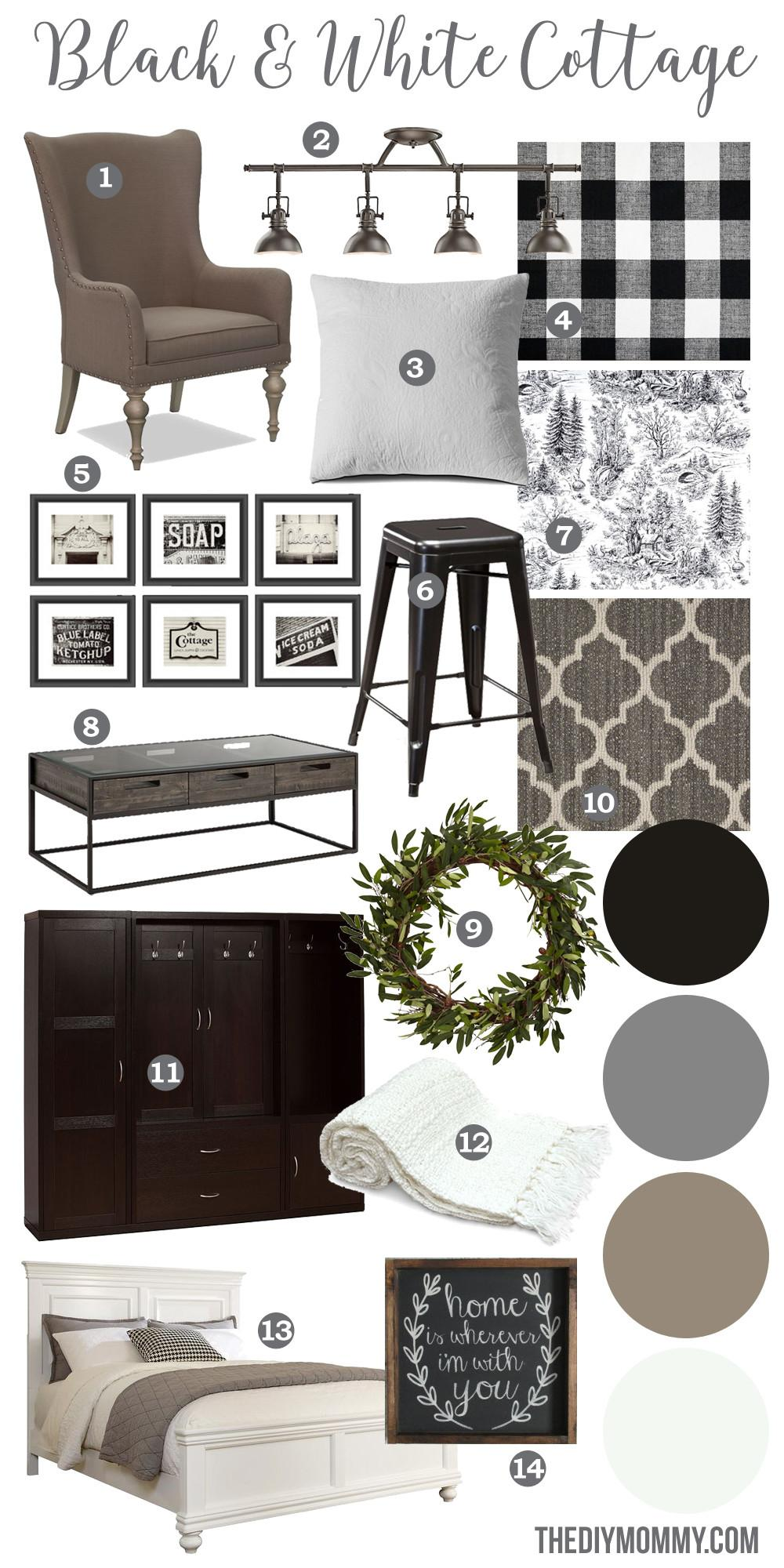 Mood Board Black White Guest Cottage Our Newest