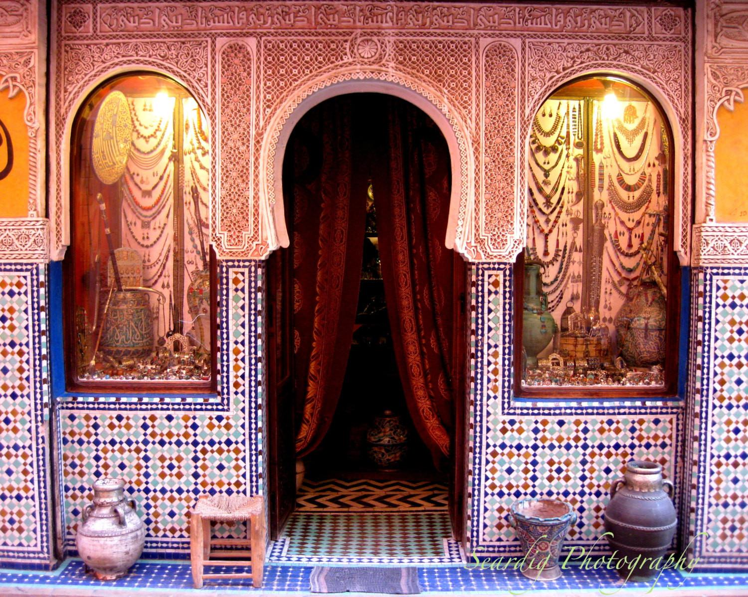 Moroccan Decor Marrakesh Morocco Door Print Colorful