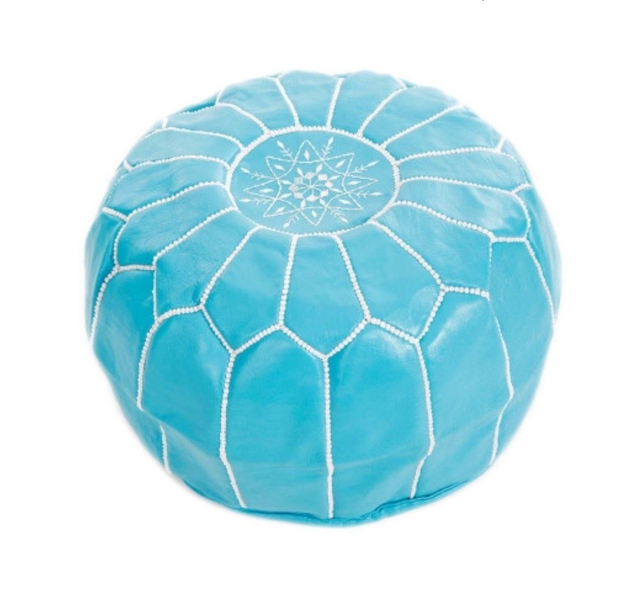 Moroccan Leather Pouf Turquoise White Sunset