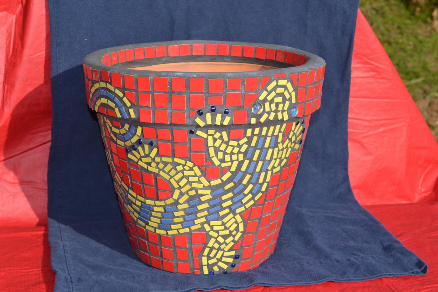 Mosaic Flower Pot Planter Lizard Gecko Design