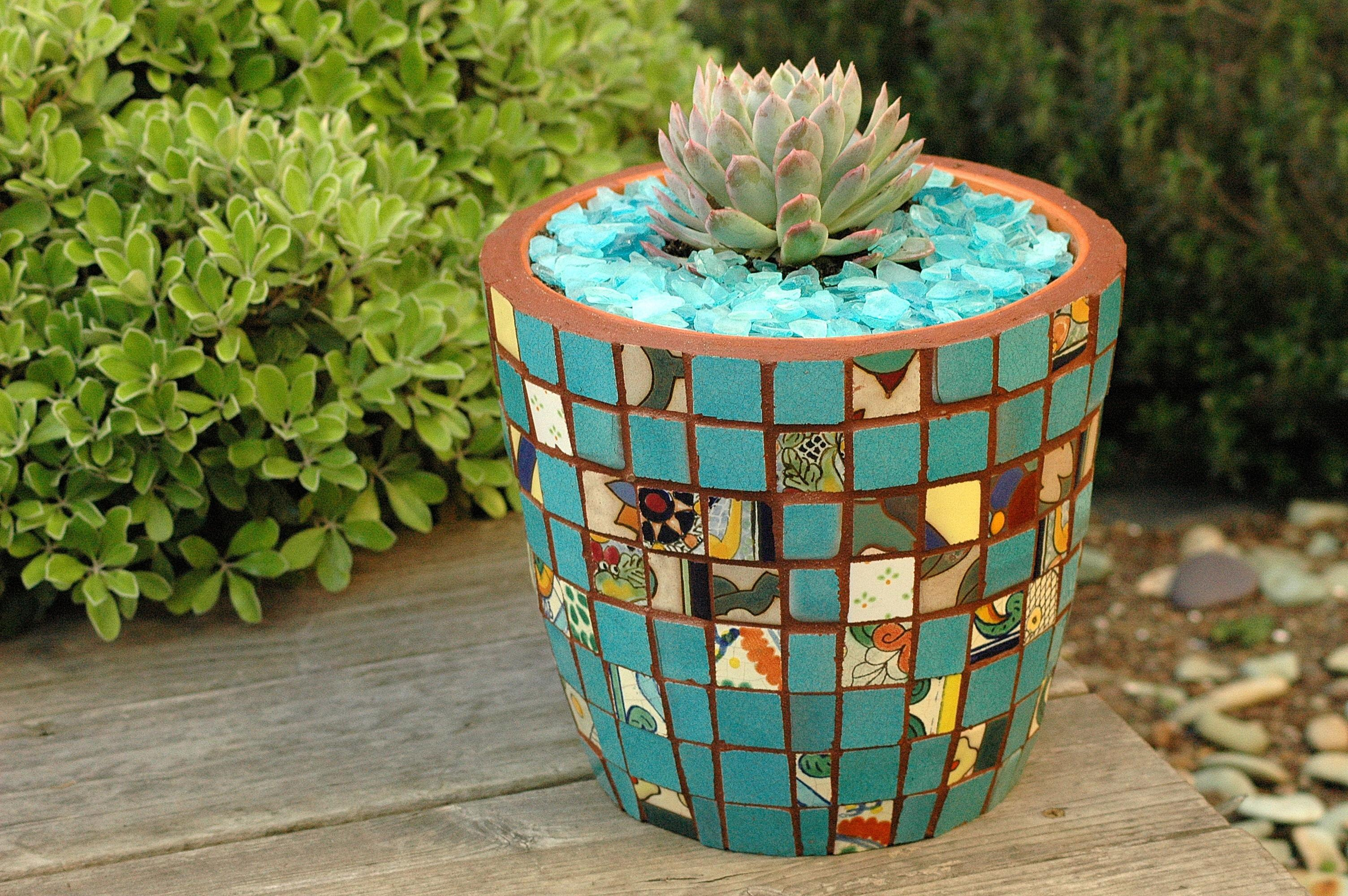 Mosaic Flower Pots Diy Outdoor Planters Large Garden