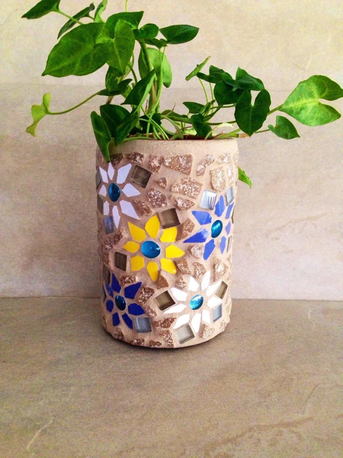 Mosaic Pot Indoor Planter Kitchen Decor Storage
