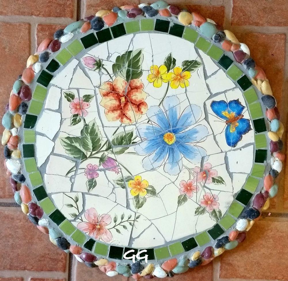 Mosaic Stepping Stone Wall Art Decor