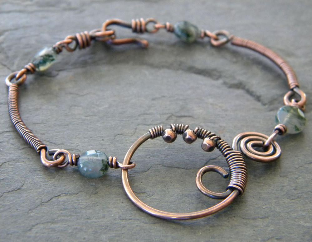 Moss Agate Copper Wire Wrapped Bracelet Green Swirl Connector