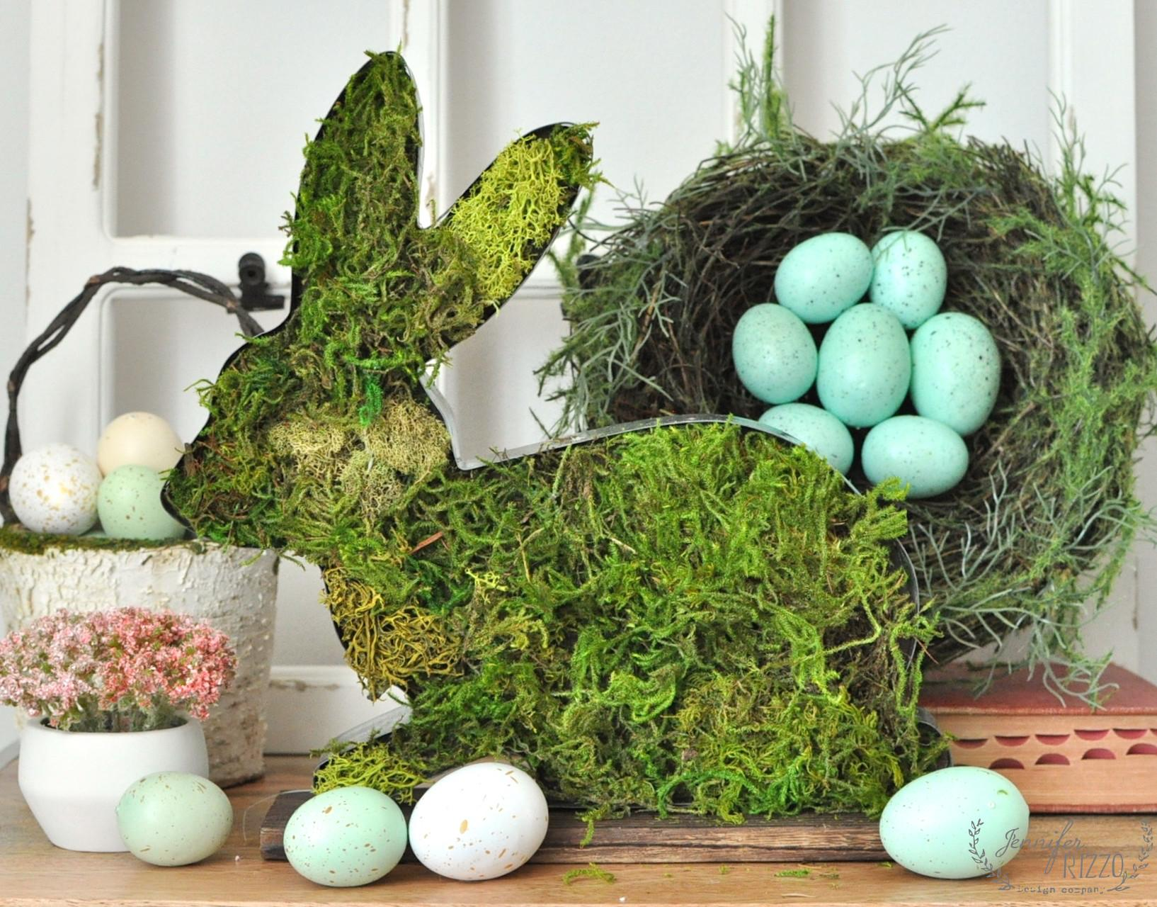 Moss Covered Rustic Bunny Spring Easter Decor