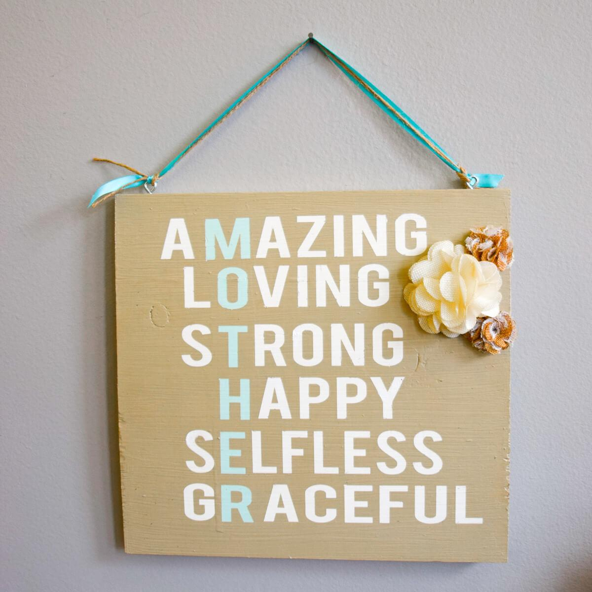 Mother Day Gift Hanging Wooden Sign