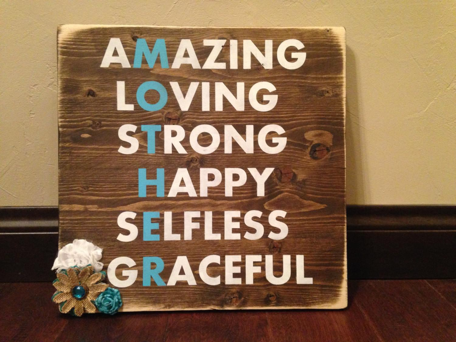 Mother Day Wood Sign Mom Rustic