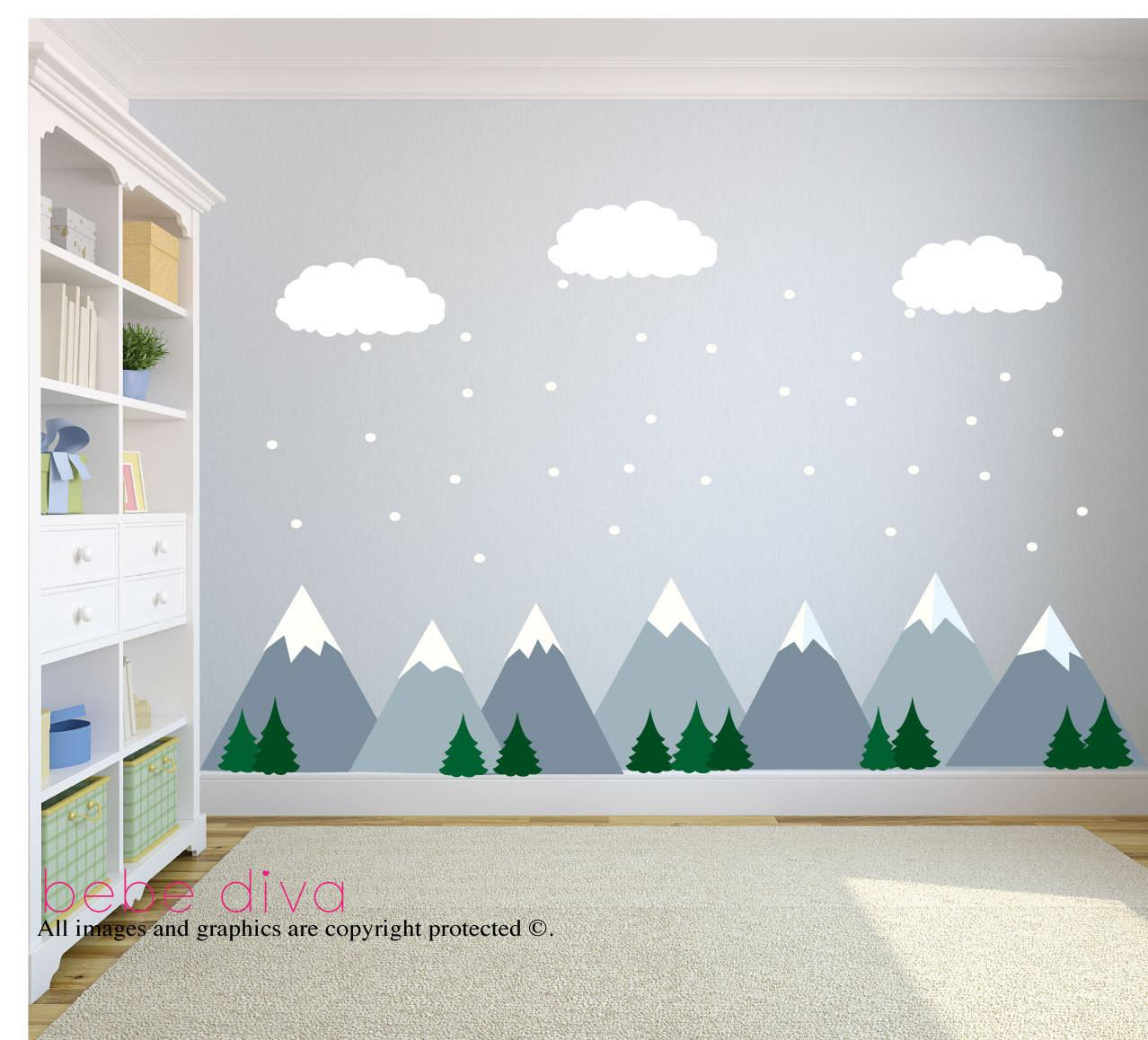 Mountain Wall Decals Nursery Baby Decal