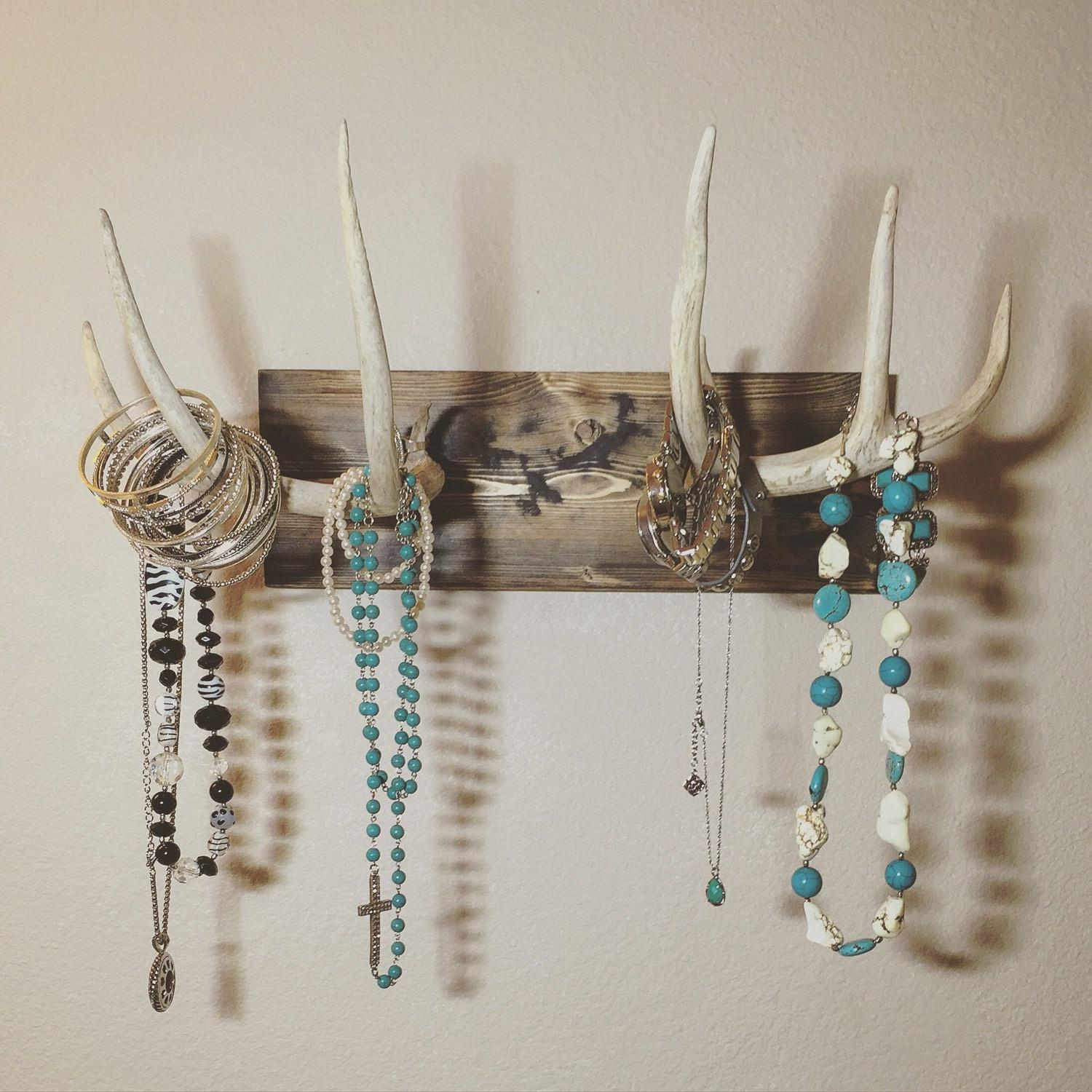Mounted Antler Jewelry Holder Real Deer Turquoiseowldesign