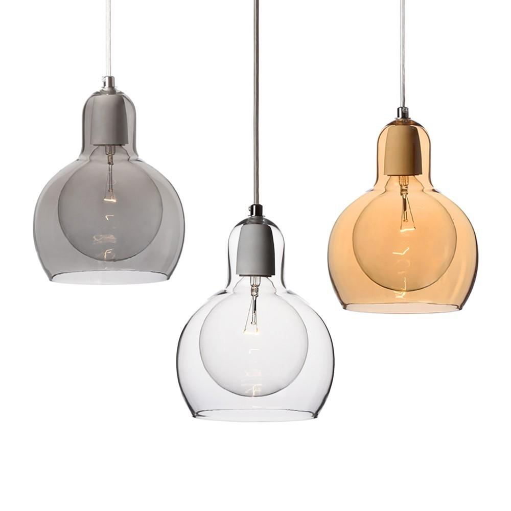 Mouth Blown Glass Modern Mini Pendant Light