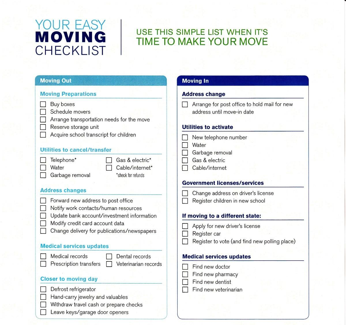 Moving Checklist Templates Word