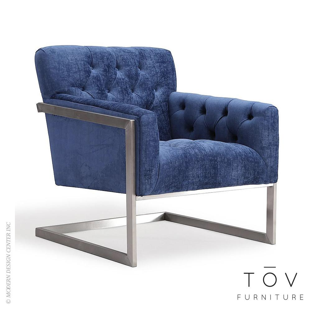 Moya Navy Velvet Chair Tov Furniture Metropolitandecor