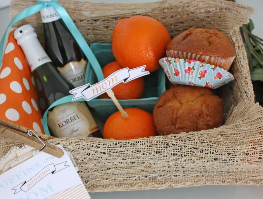 Muffins Mimosas Gift Basket Mother Day