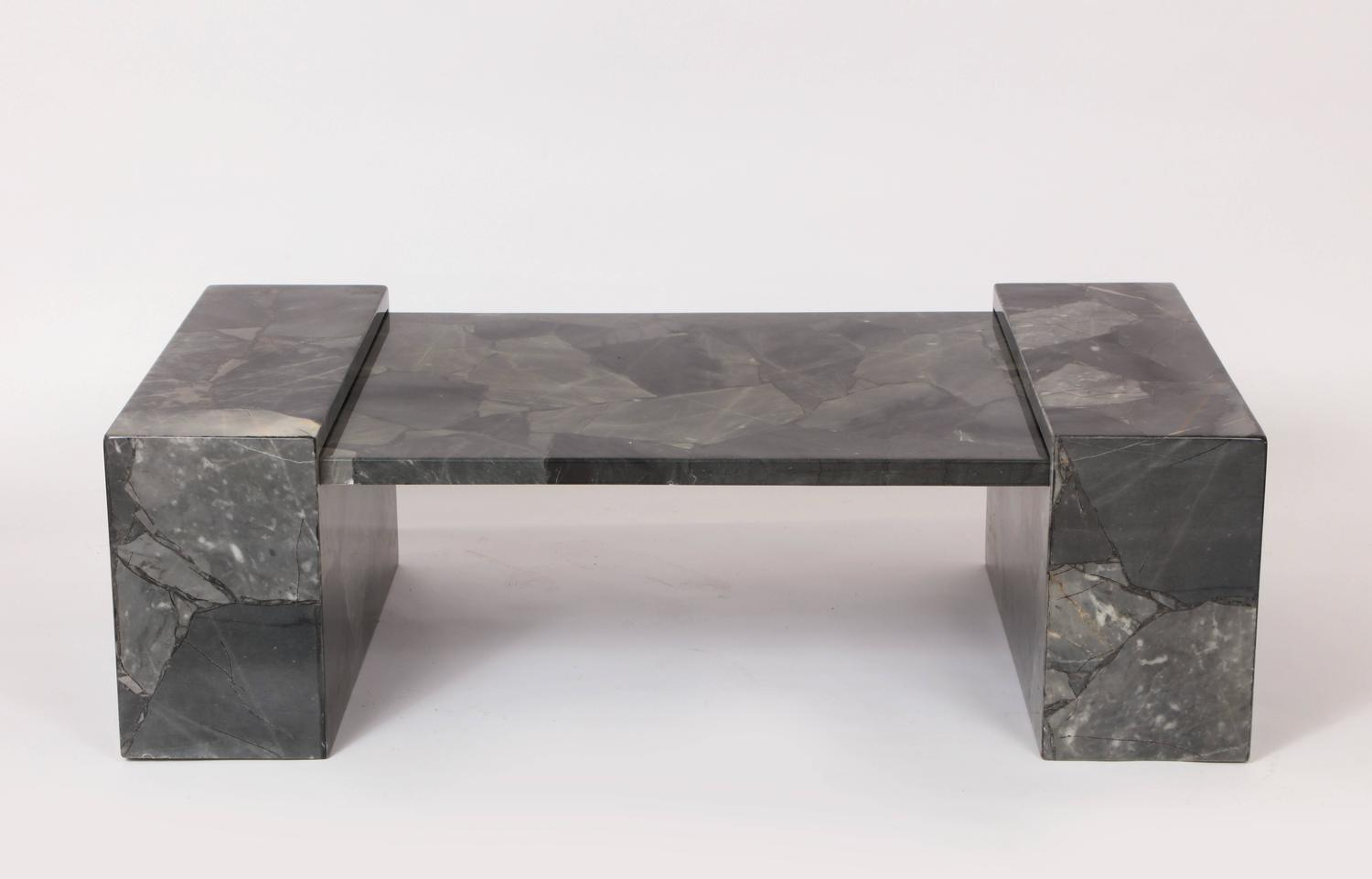 Muller Faux Marble Stone Coffee Table Hand Painted Lacquer