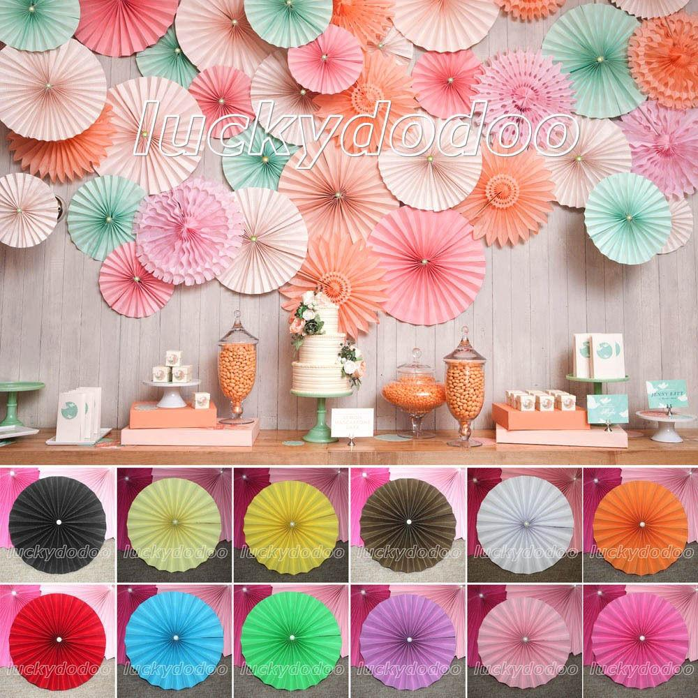 Multicolor Paper Flower Fan Parties Wedding Birthday Home
