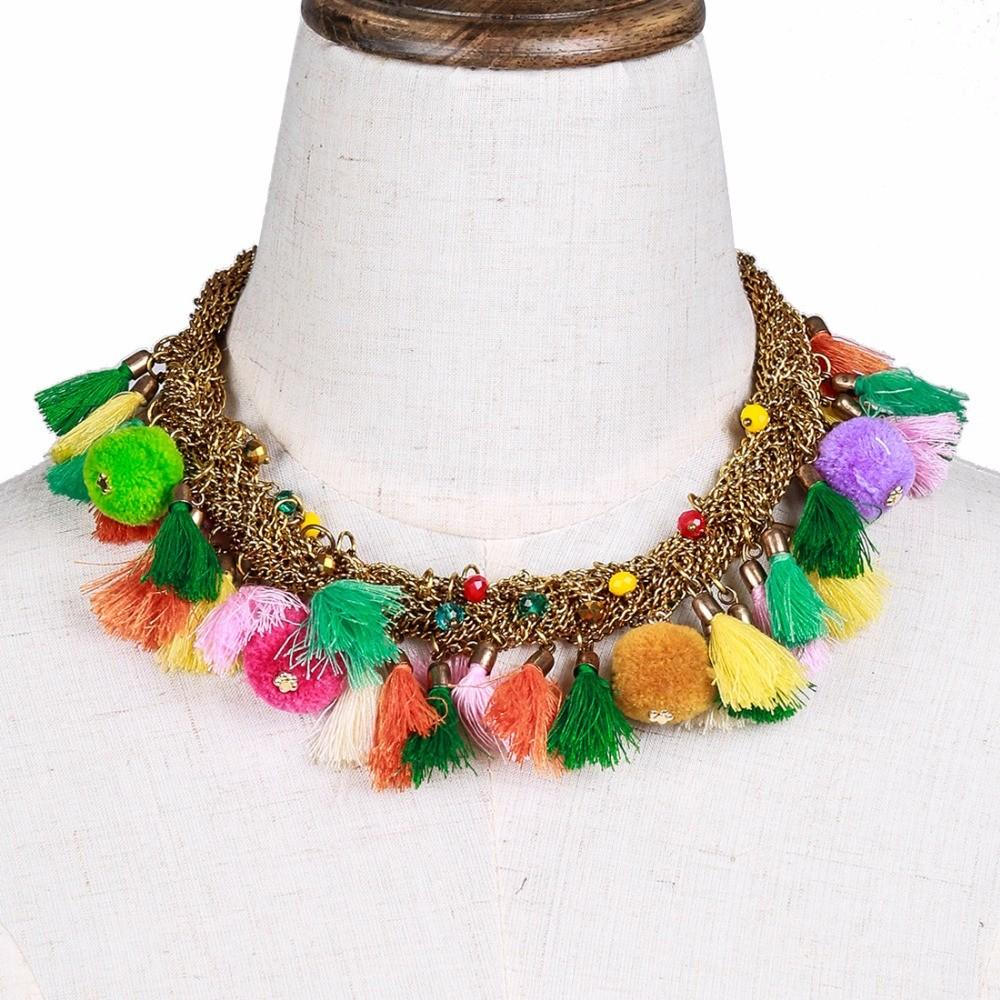 Multicolor Pom Necklace Tassels Choker Statement