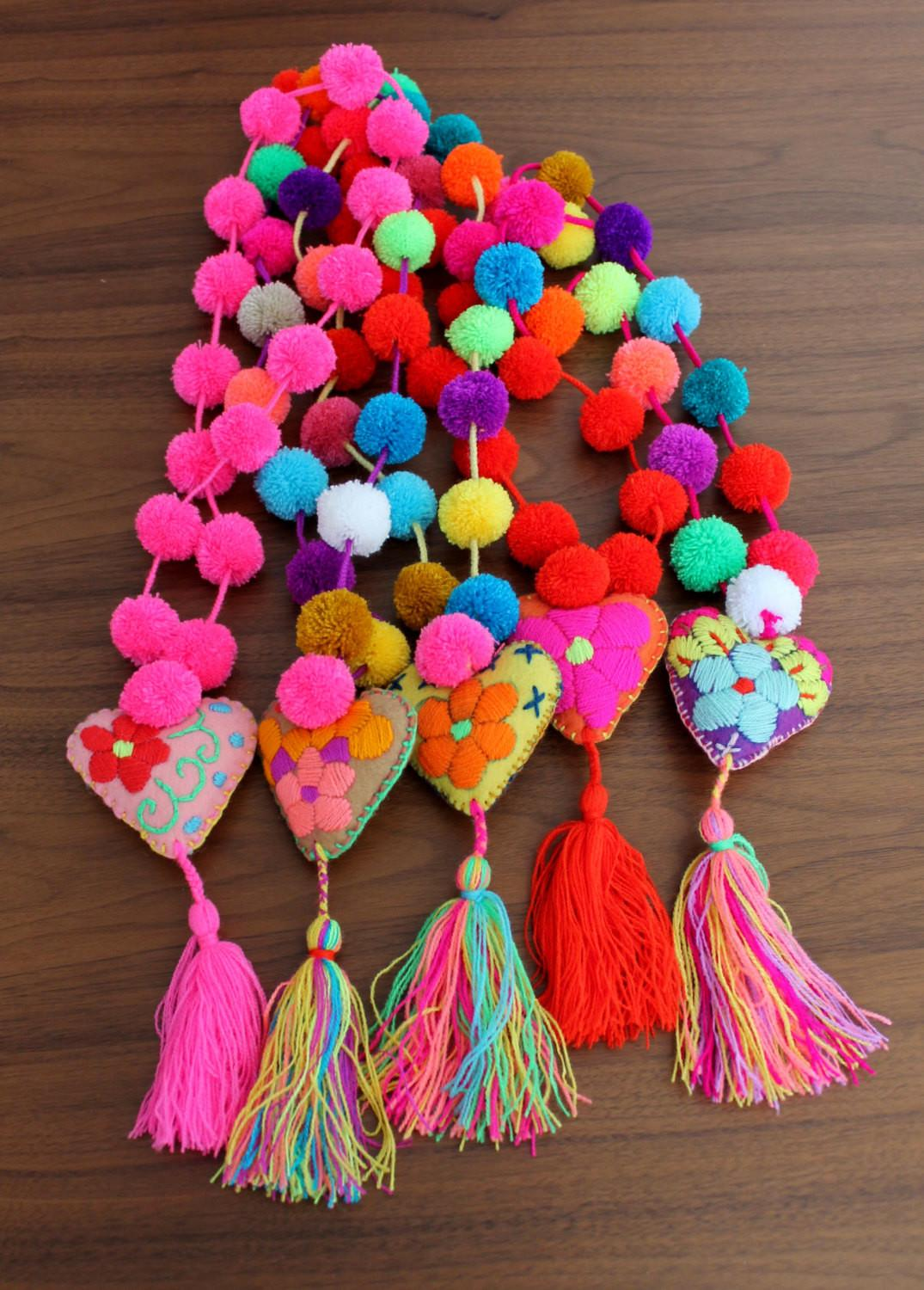 Multicolored Pom Poms Necklace Felted Heart Tassel