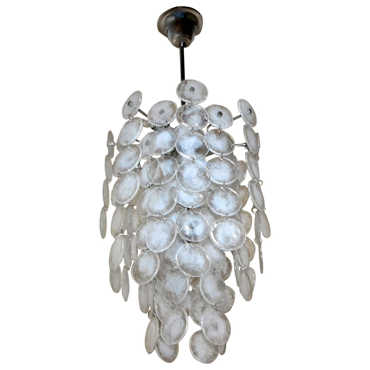 Murano Mazzega Cascading Clear White Glass Disk
