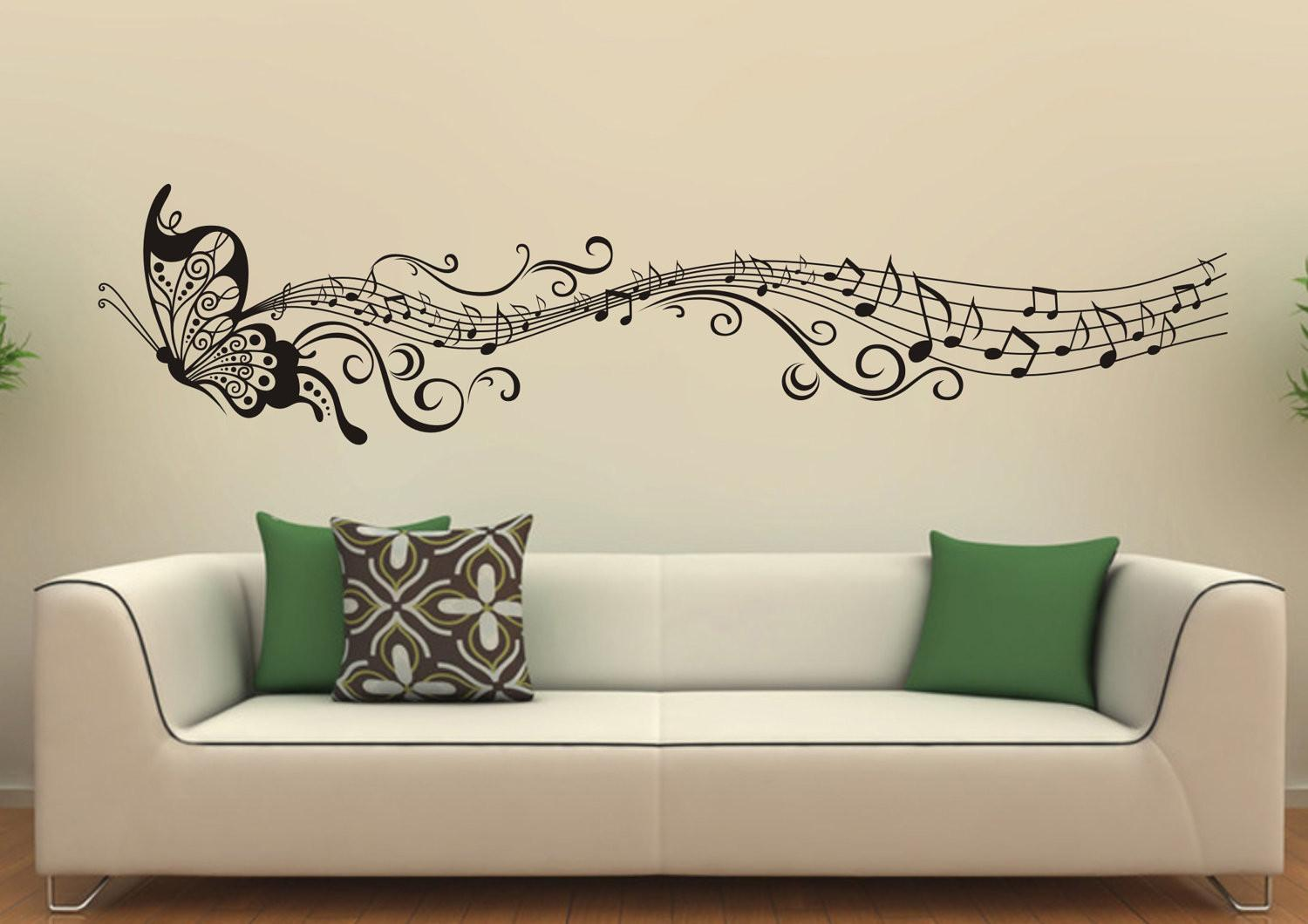 Music Butterfly Wall Decals Stickers Vinyl Decor