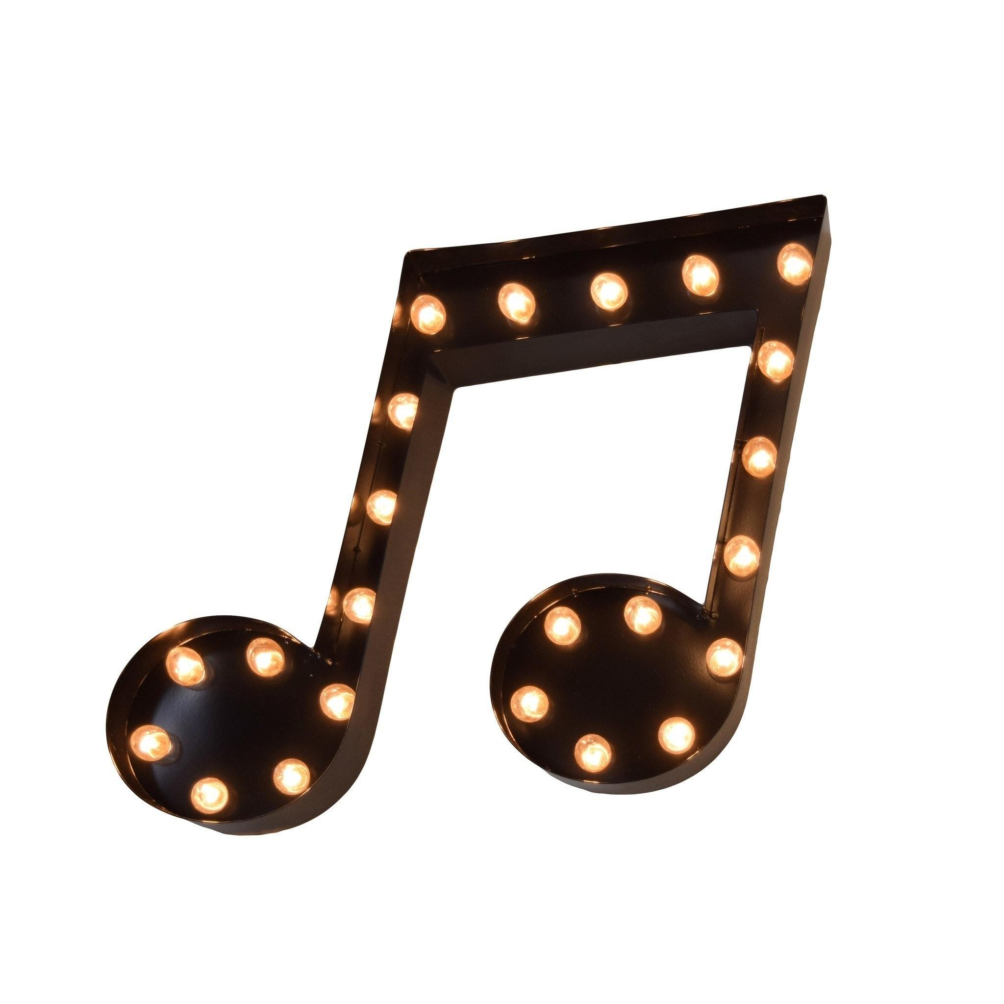 Music Note Vintage Marquee Lights Sign Black Finish