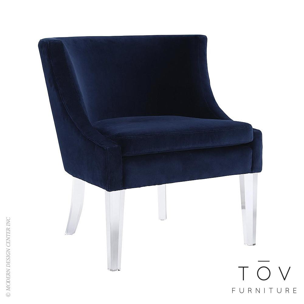 Myra Blue Velvet Chair Tov Furniture Metropolitandecor