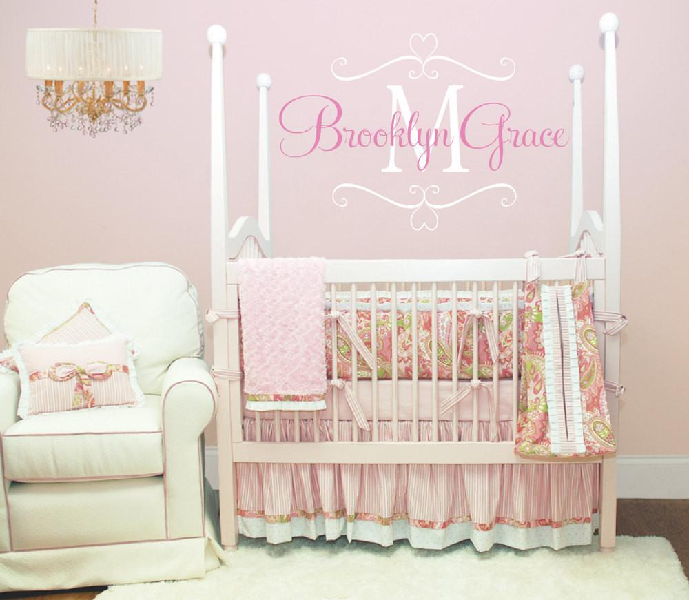 Name Wall Decal Baby Nursery Shabby Chic Heart Frame