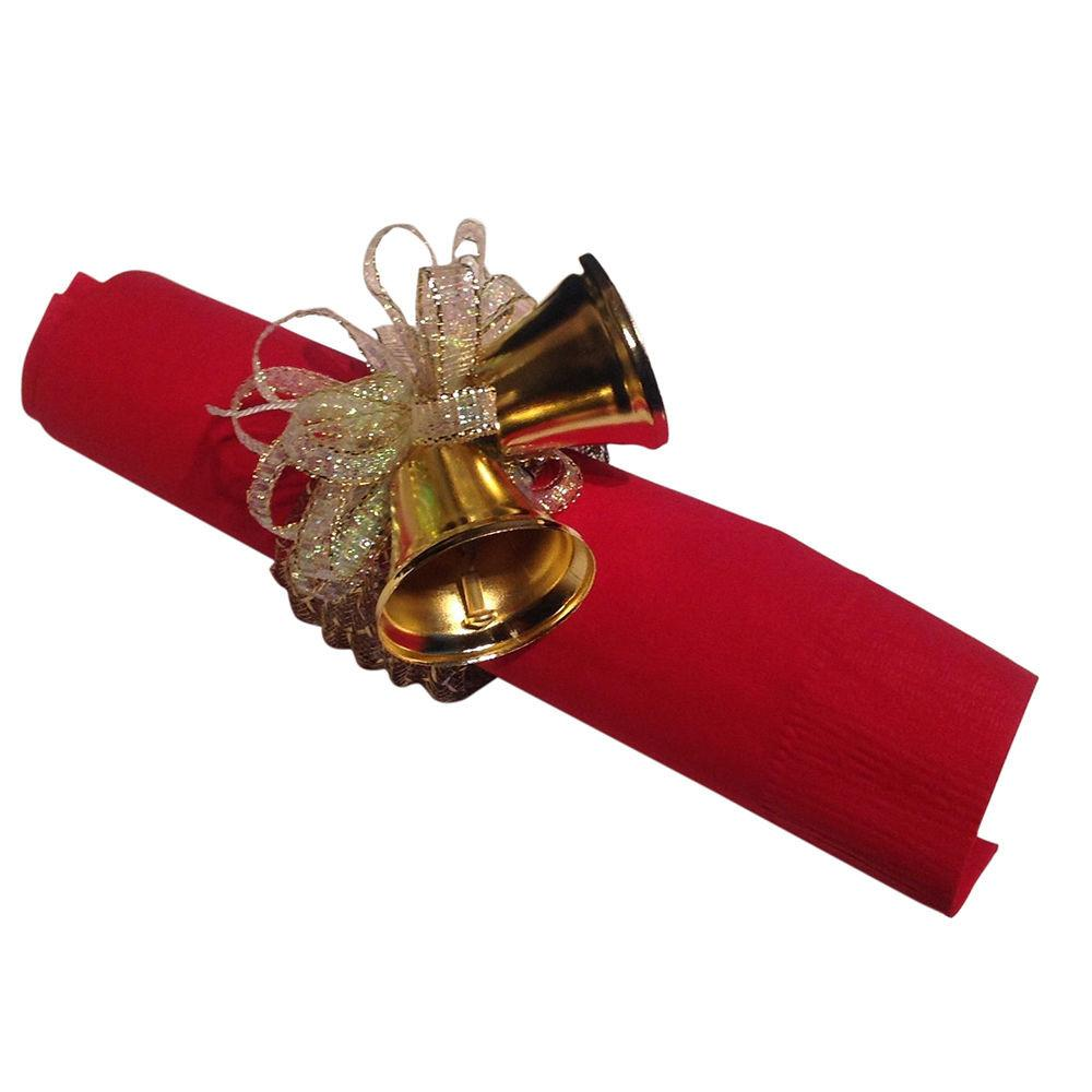 Napkin Rings Gold Metal Clinking Bells Ribbon