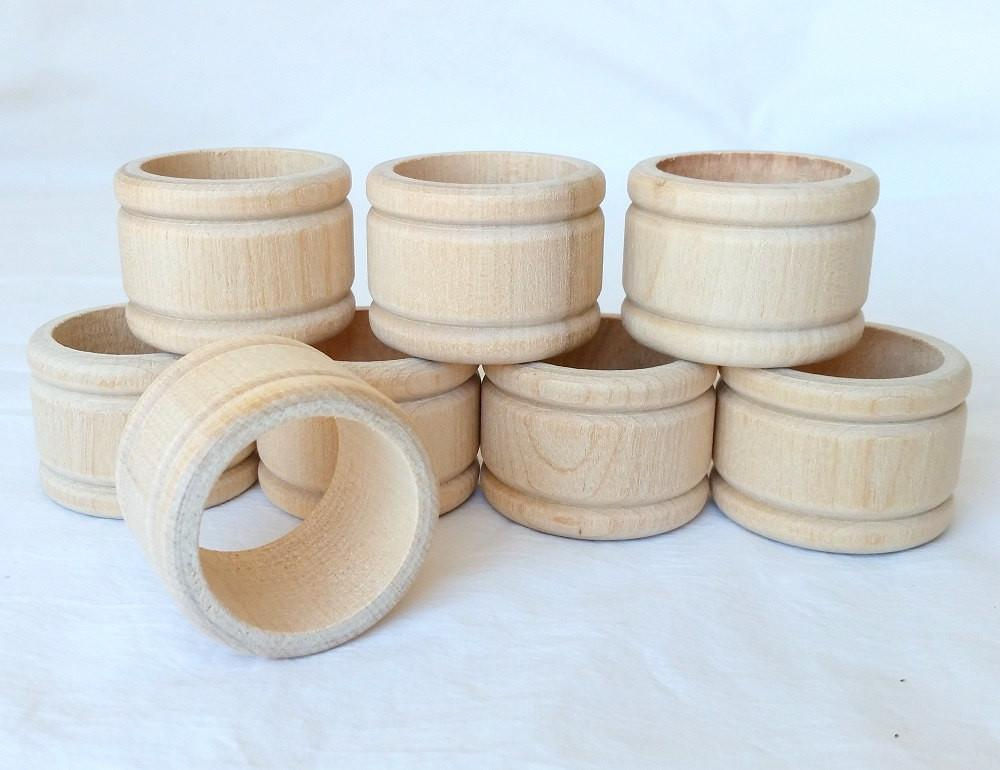 Napkin Rings Wooden Unfinished Colonial Style Set