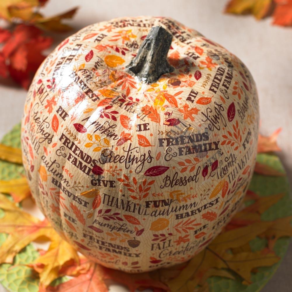 Napkins Decoupage Foam Pumpkin Cathie Filian