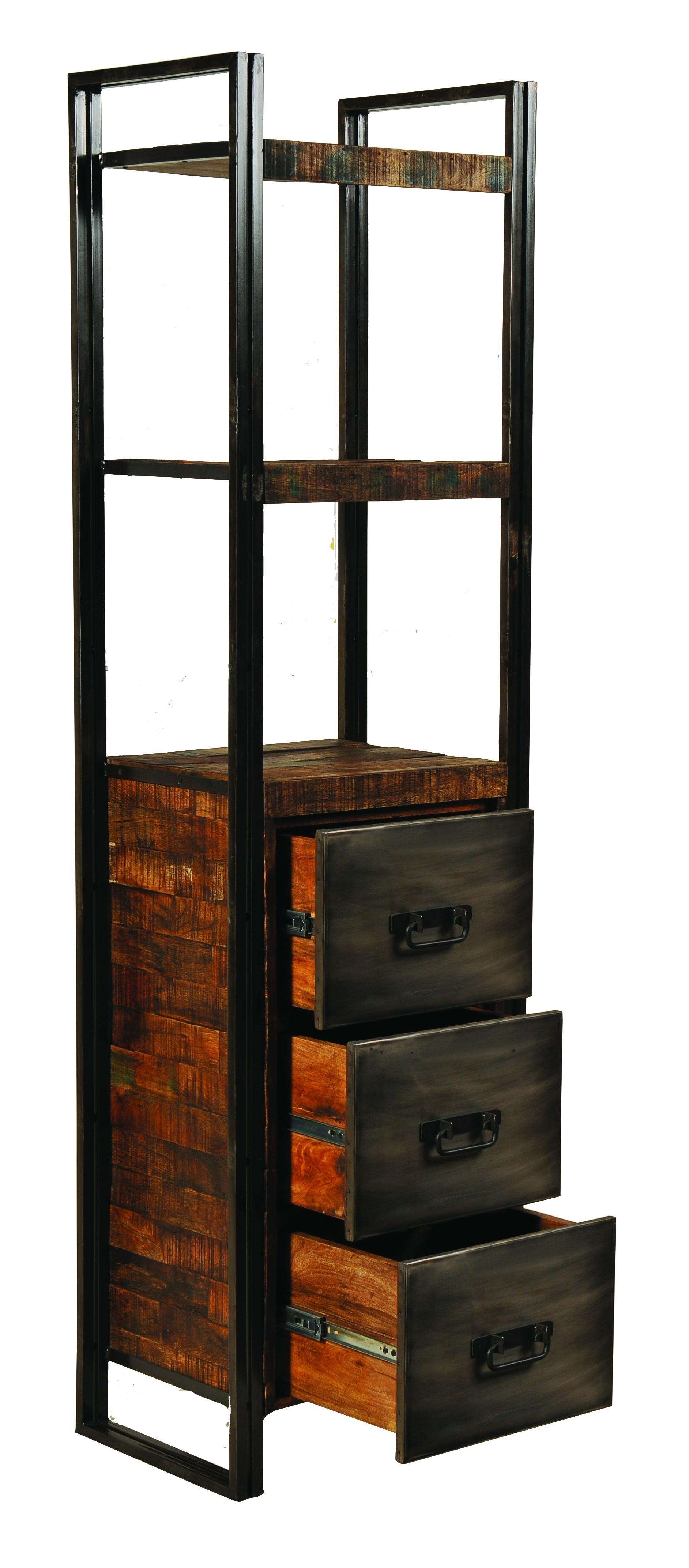 Narrow Black Metal Bookcase Three Reclaimed Wood Low