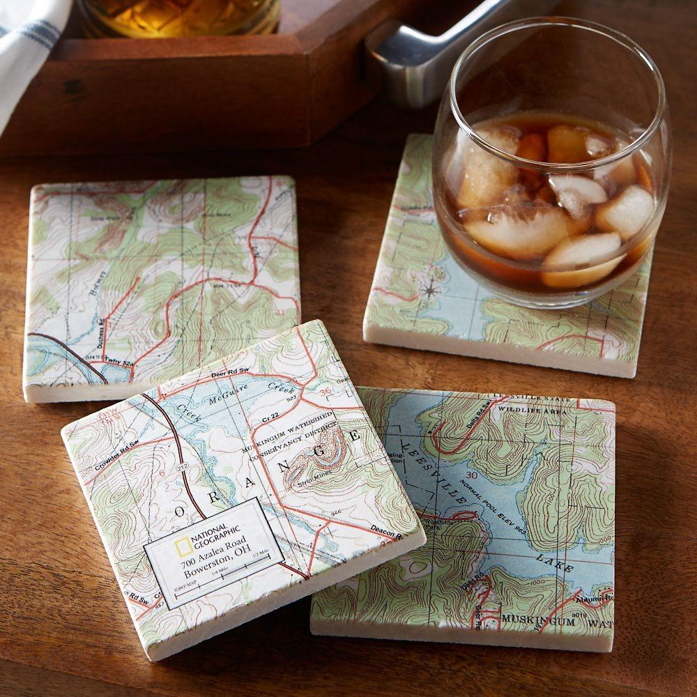 National Geographic Town Map Coasters Set