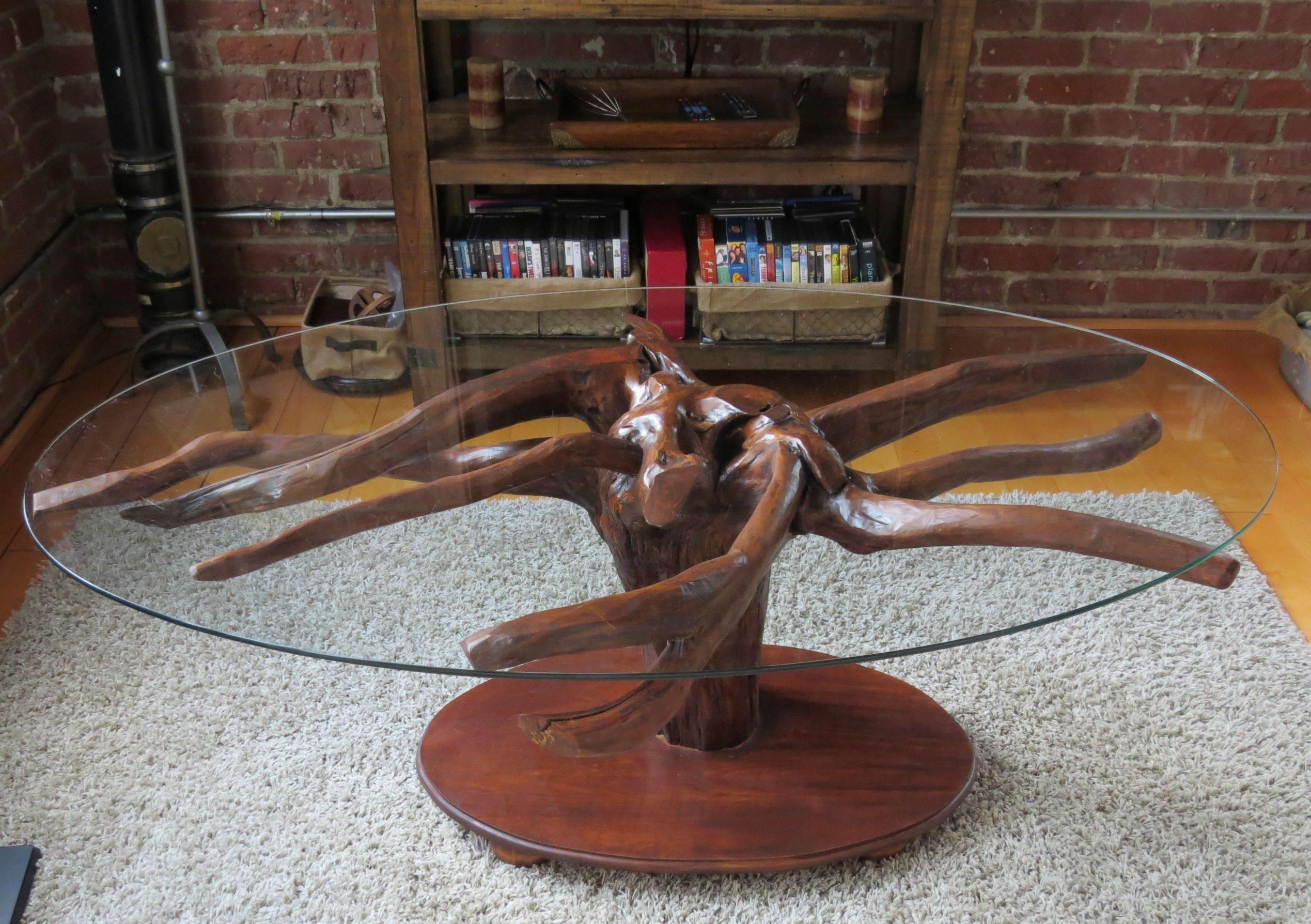Natural Brown Wooden Stump Base Combined Circle Glass