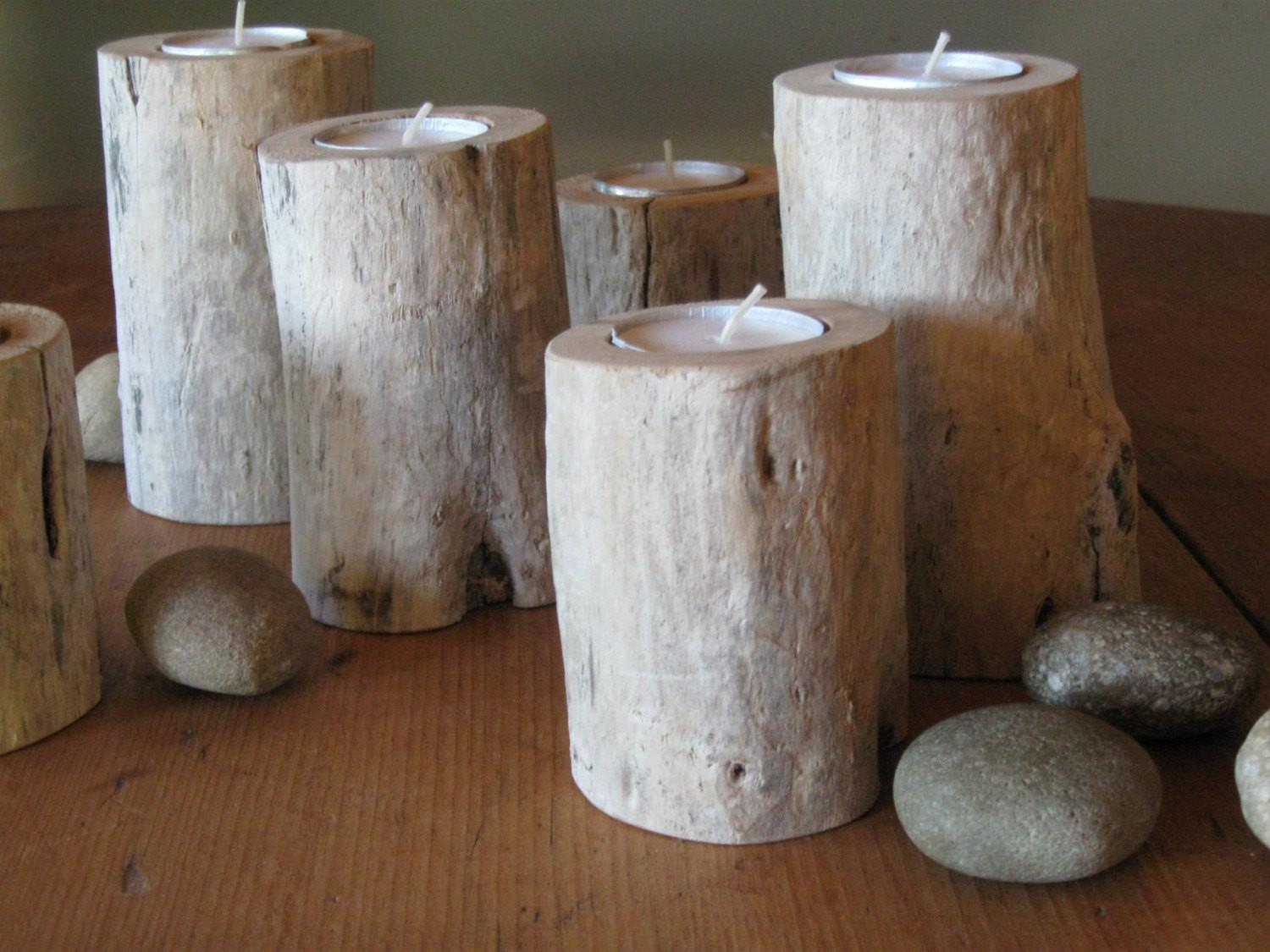 Natural Driftwood Candle Holder Organic