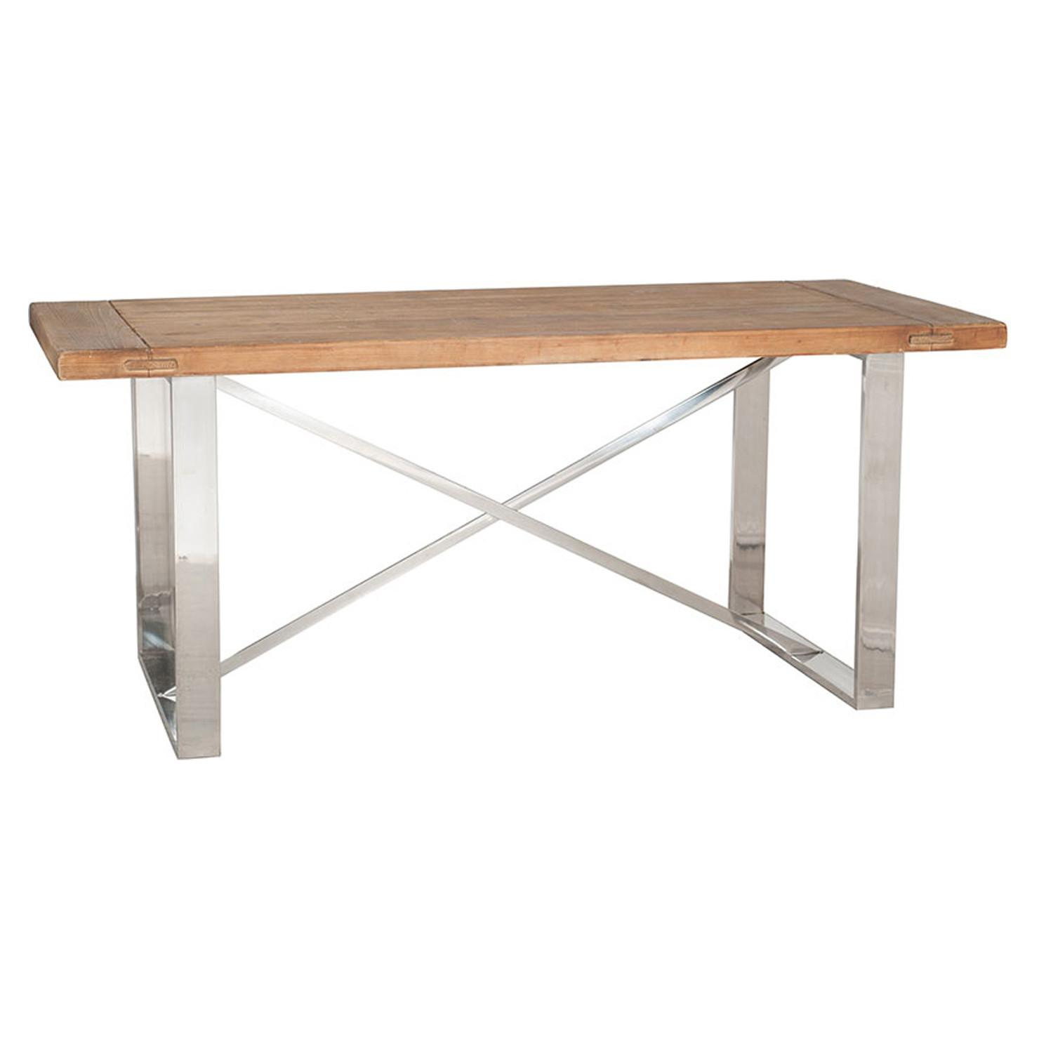 Natural Fir Wood Stainless Steel Dining Table Achica