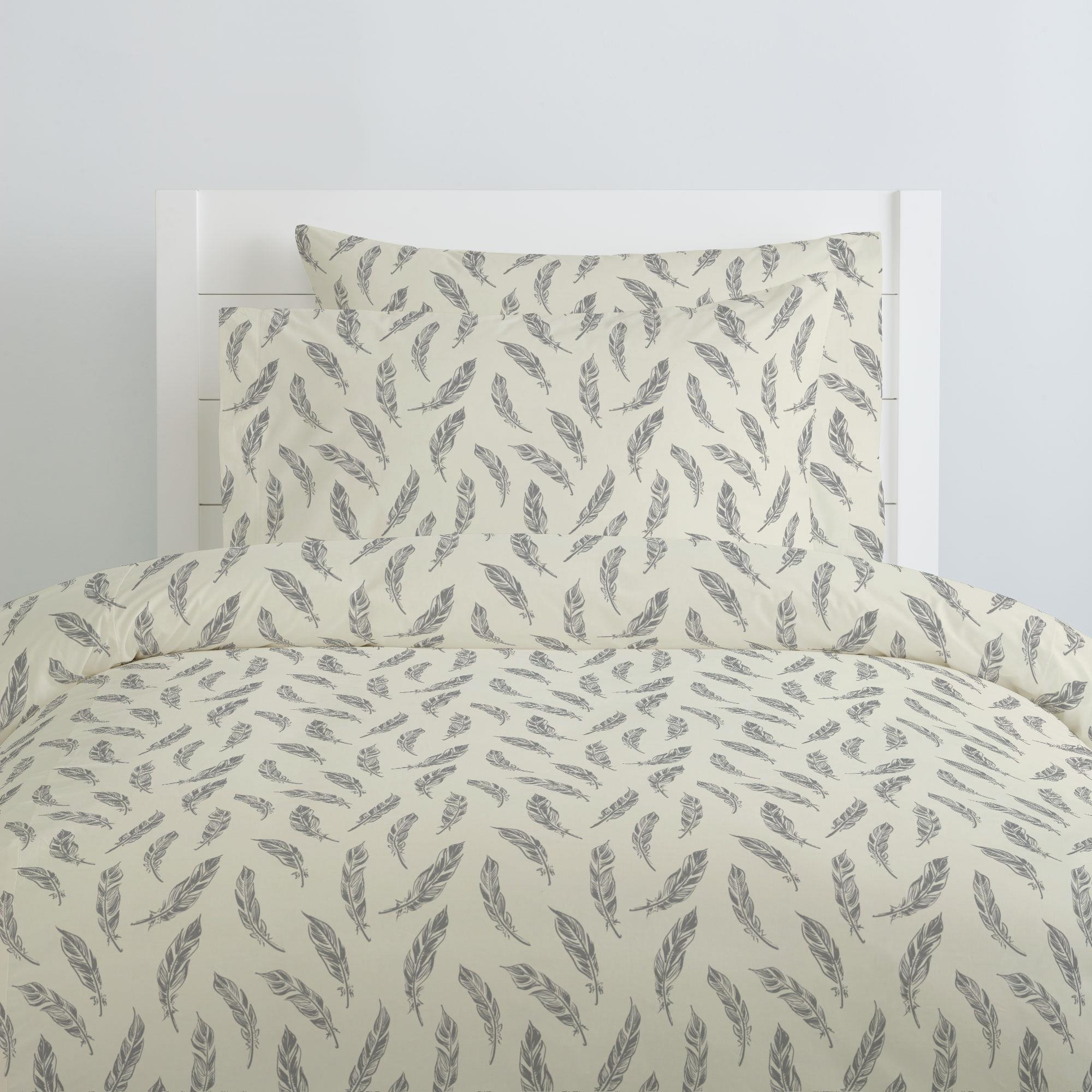 Natural Gray Feathers Pillow Case Carousel Designs