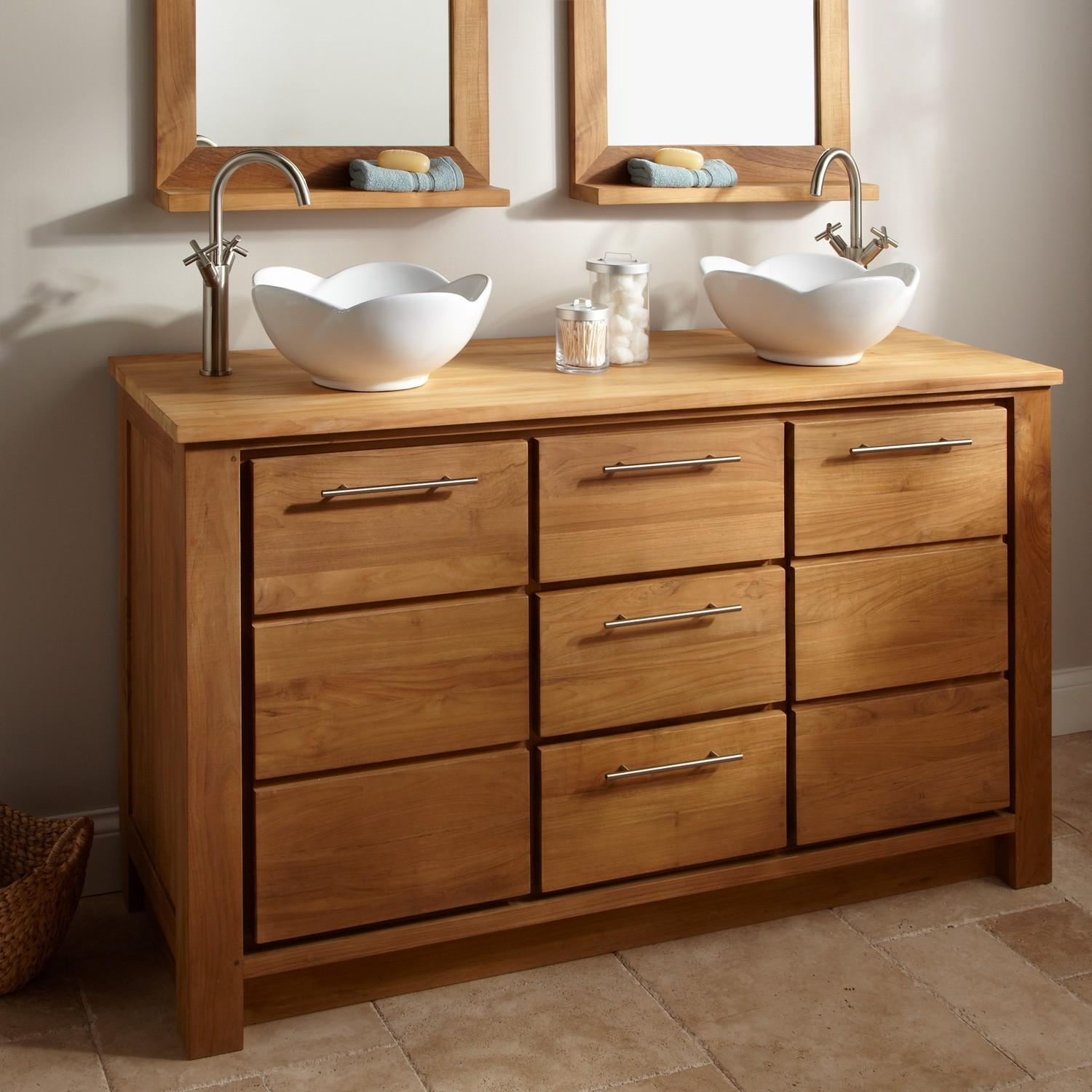 Natural Hickory Wood Vanity Cabinet Double White