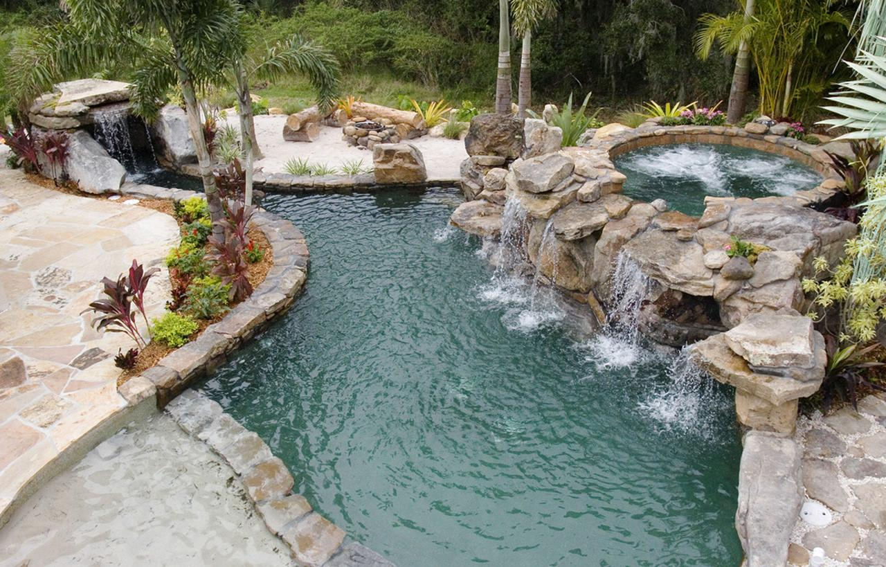 Natural Stone Grotto Waterfall Elevated Spa Lucas