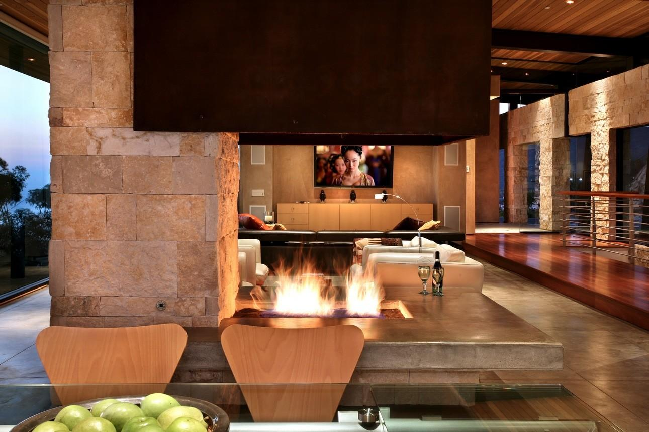 Natural Stone Wall Living Room Design Fireplace