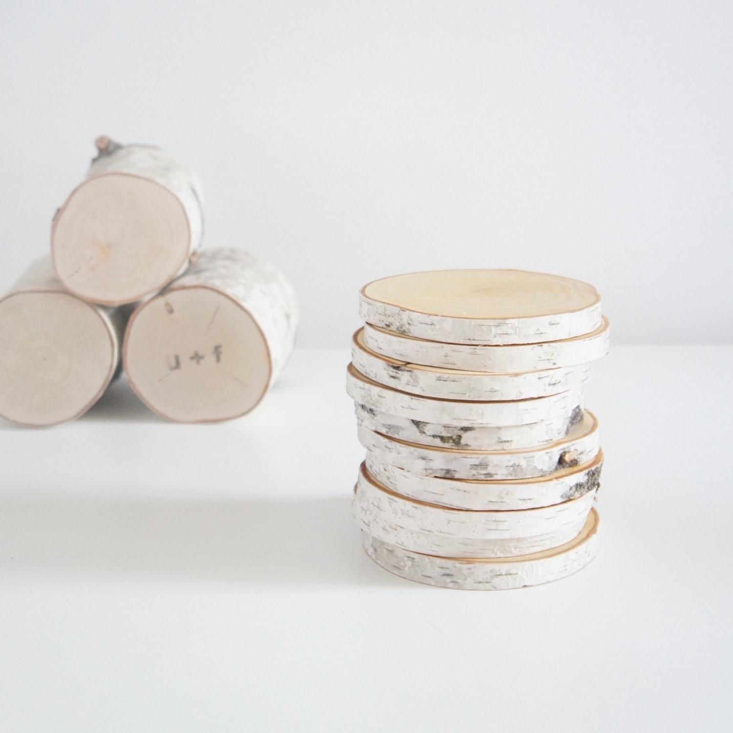 Natural White Birch Wood Slices Diy Projects Set