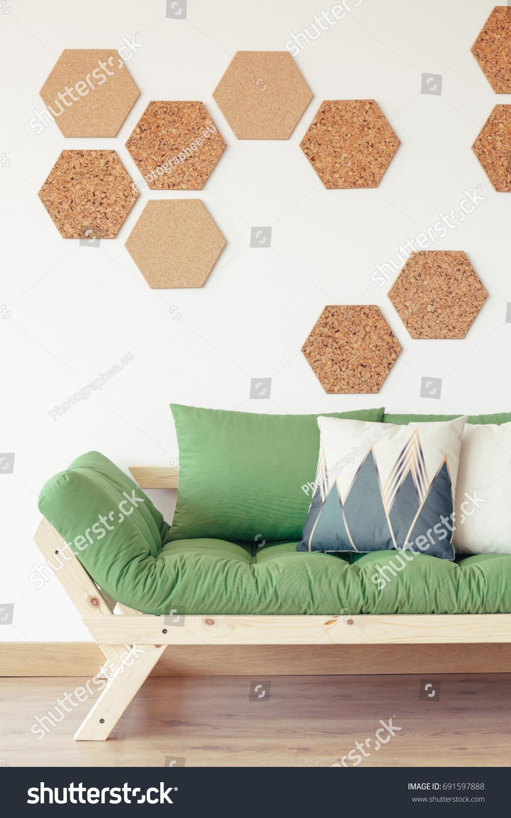 Natural Wood Green Couch Cork Hexagon Stock